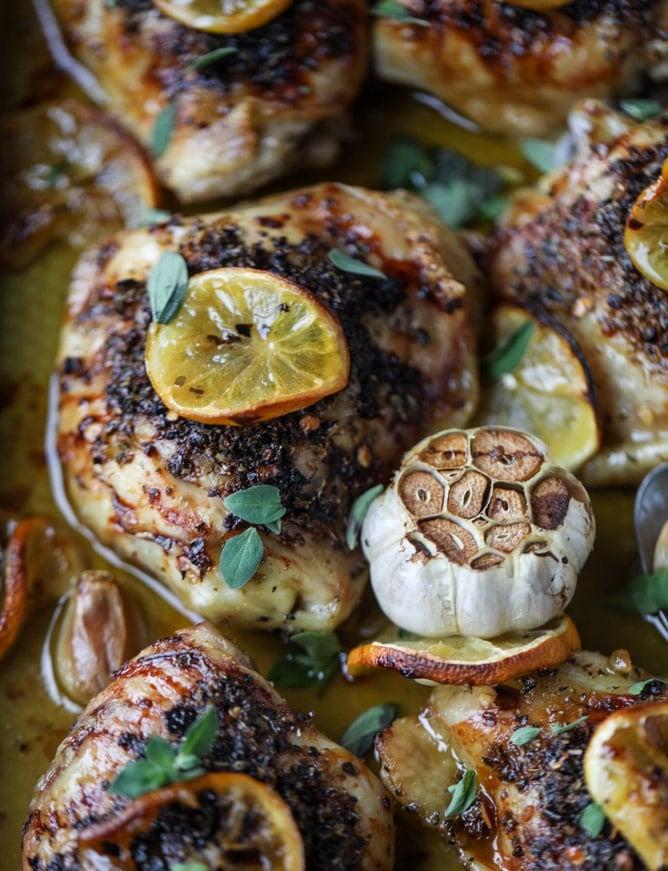 meyer lemon roasted chicken I howsweeteats.com #chicken #lemon #roastedchicken #healthy #meyerlemon