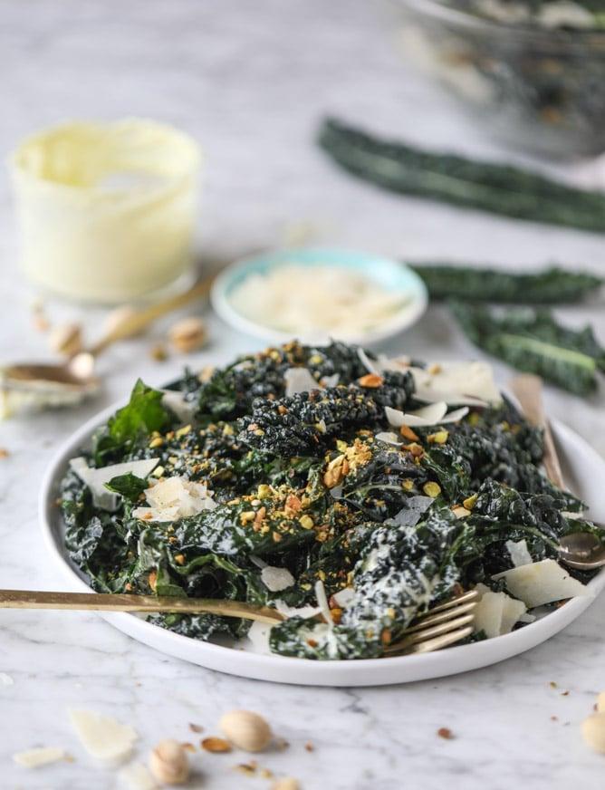 parmesan pistachio I howsweeteats.com #kale #pistachio #salad #parmesan #healthy #recipes
