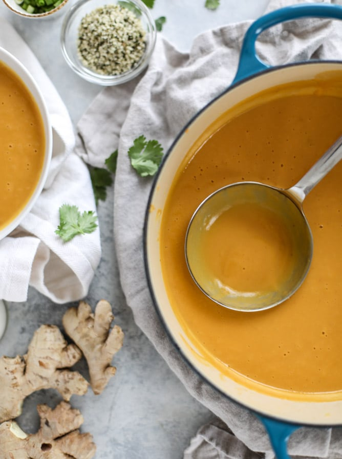 silky ginger sweet potato soup I howsweeteats.com #soup #sweetpotatoes #ginger #vegan