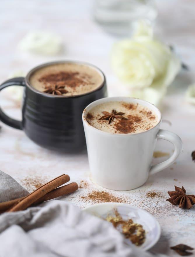 coconut chai power coffee I howsweeteats.com #coffee #coconut #chai #bulletproof #coconutoil