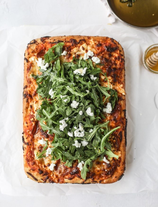 hot honey goat cheese pepperoni pizza I howsweeteats.com #detroitstyle #pepperoni #pizza #goatcheese