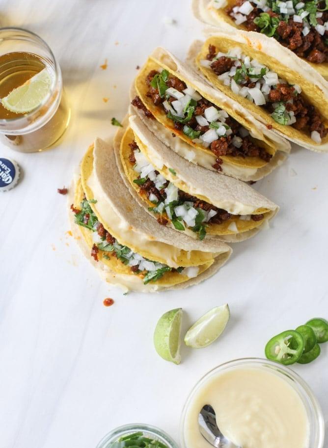 queso fundido tacos I howsweeteats.com #tacos #chorizo #queso #quesofundido