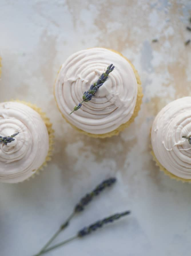 lavender cupcakes with cream cheese frosting I howsweeteats.com #lavender #cupcakes #creamcheese #frosting #cake