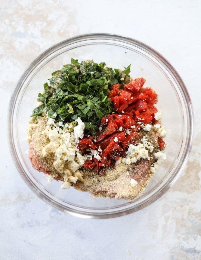 mediterranean turkey burgers with artichoke feta spread I howsweeteats.com #turkey #burgers #healthy #feta #spinach