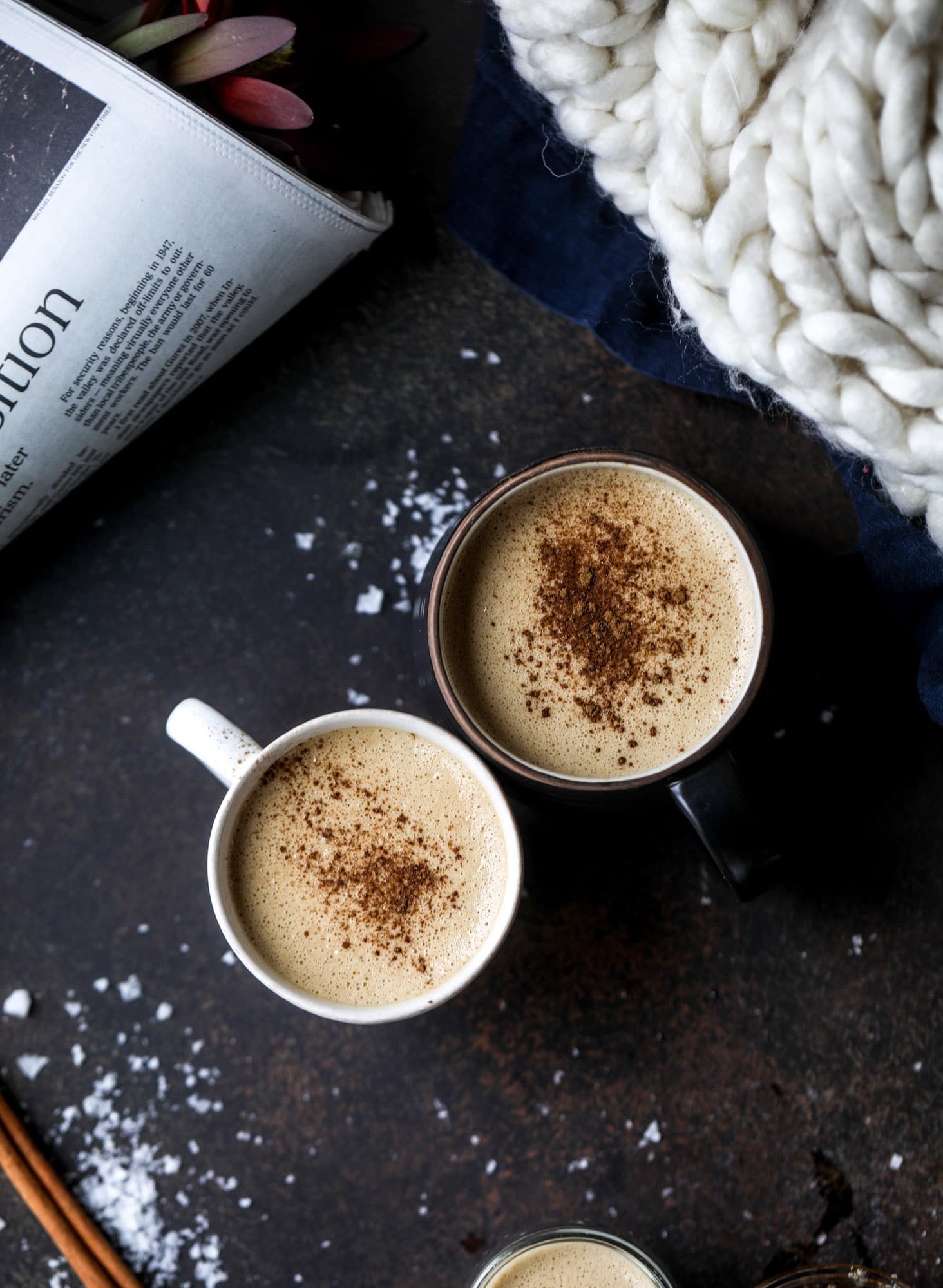 This salted maple power coffee is the perfect creamy pick-me up. Maple syrup, coconut butter and sea salt are blended with hot coffee to make the most deliciously whipped hot, frothy latte-like drink, without any dairy! I howsweeteats.com #coffee #coconutbutter