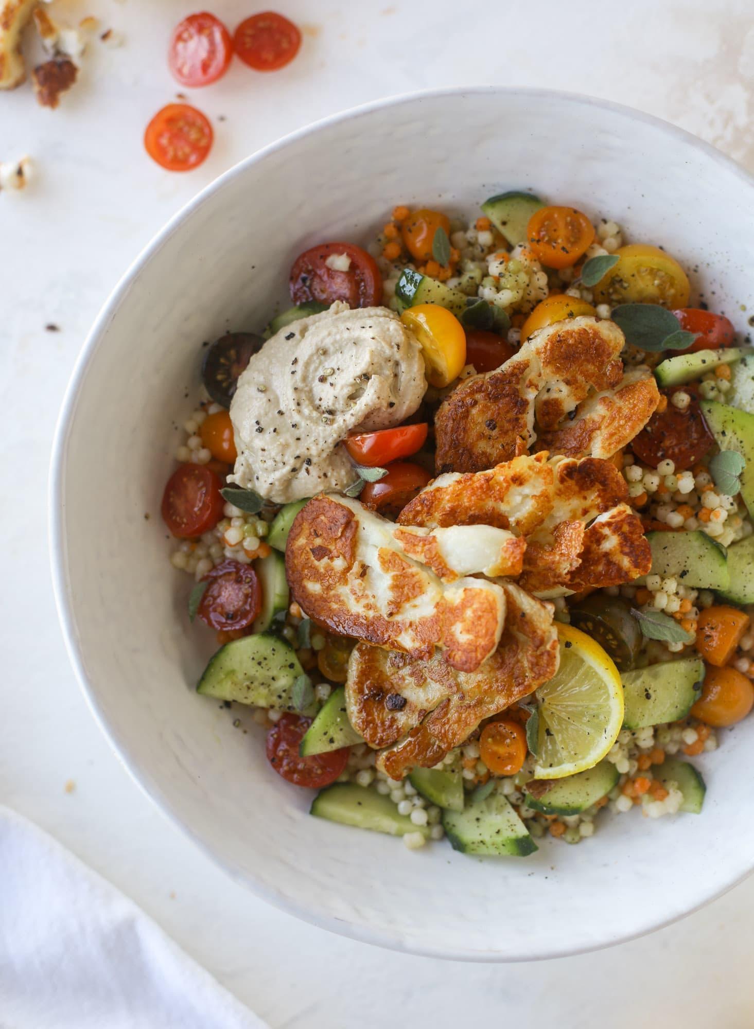 Halloumi Hummus Bowls Halloumi Couscous Salad