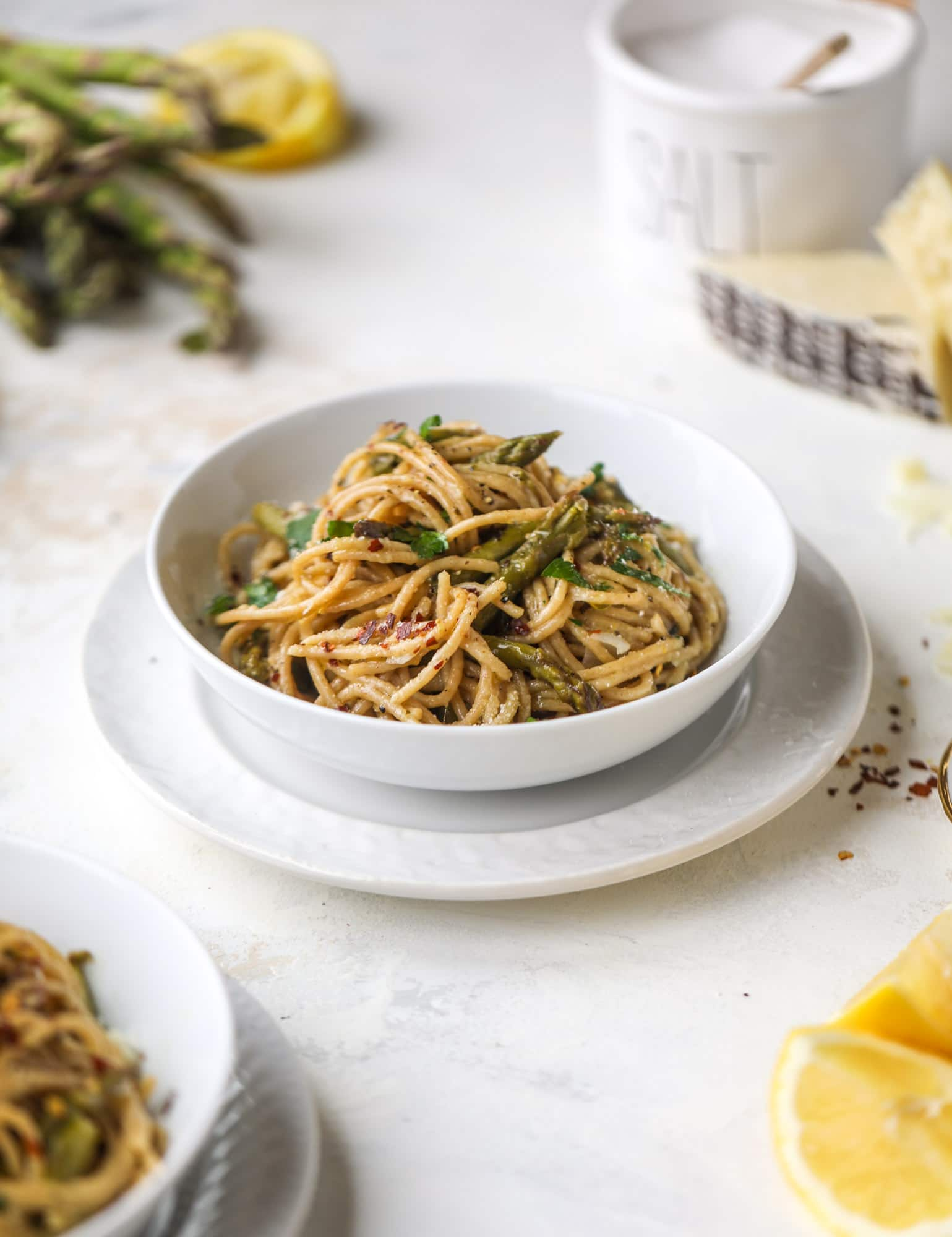 A perfect one pot pasta made with asparagus, shallots, lemon and mascarpone chese. The best weeknight dinner that comes together in a snap! I howsweeteats.com #asparagus #onepotpasta