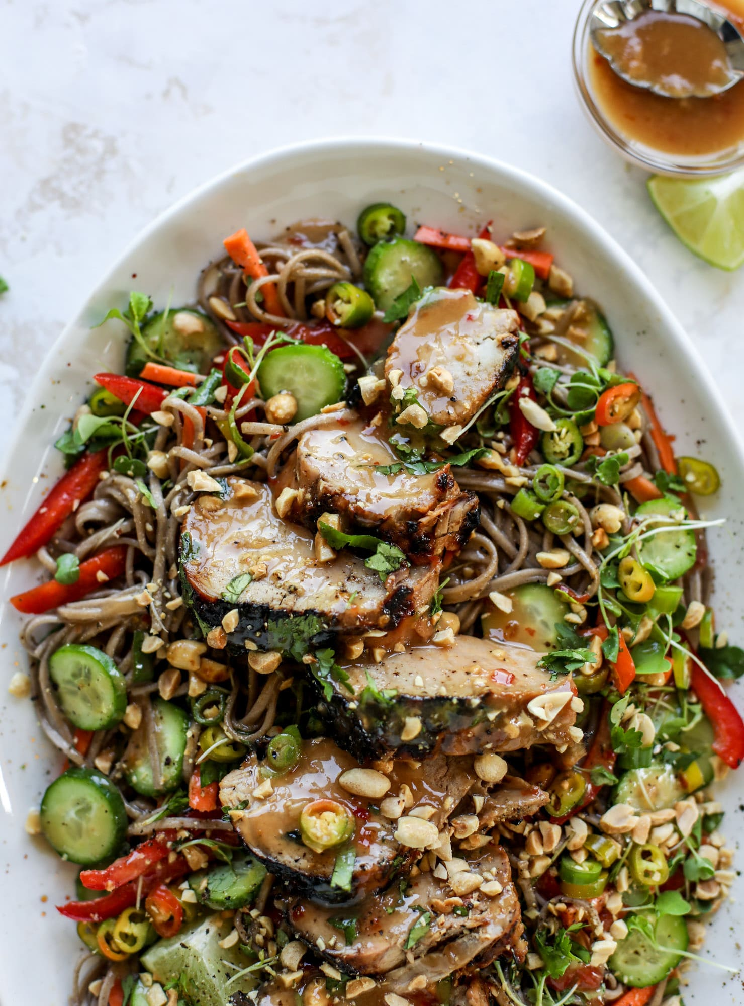 grilled thai pork tenderloin with soba noodle salad