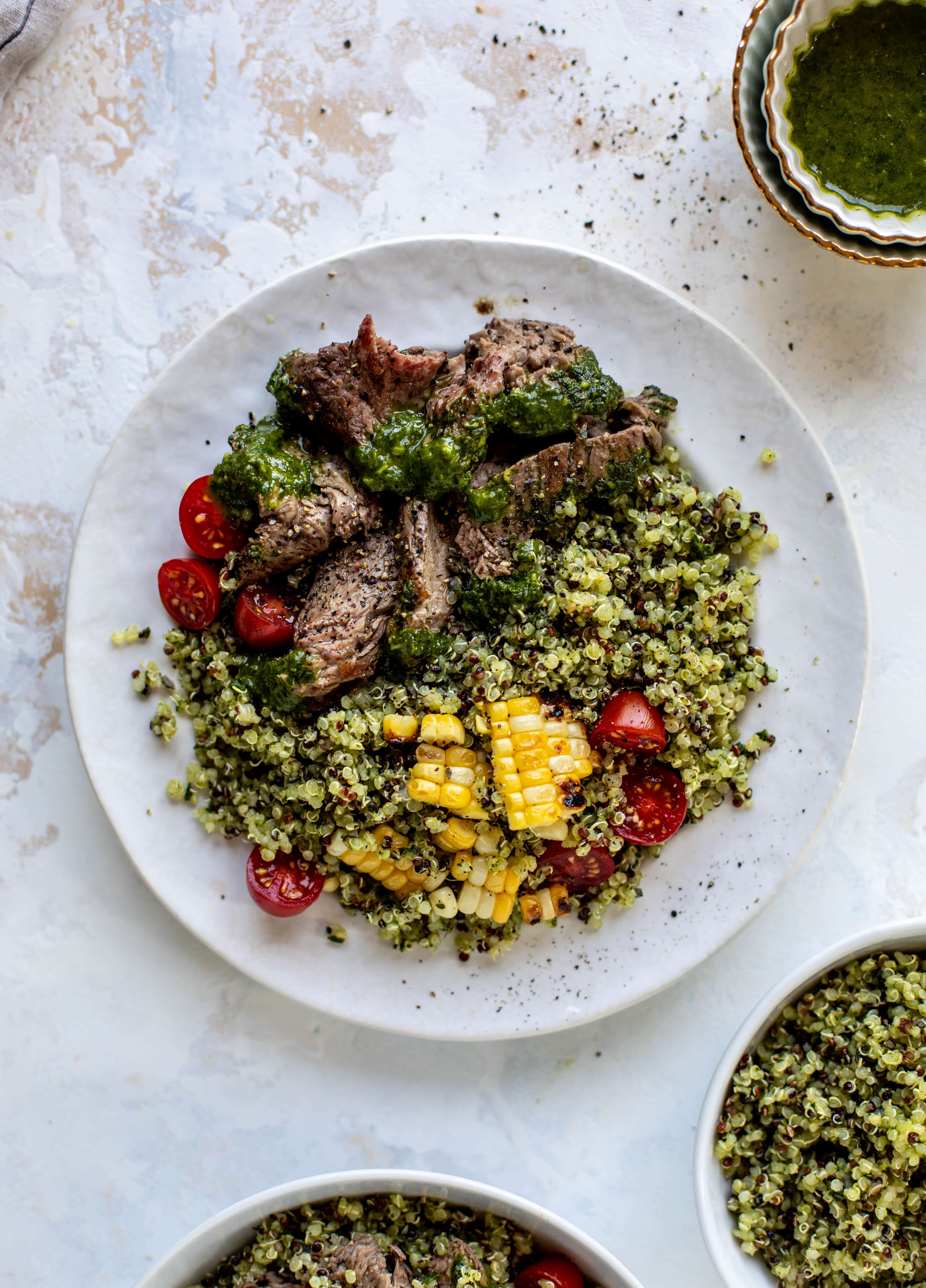 This chimichurri quinoa with flank steak is so incredibly delicious and flavorful! The steak is juicy and tender; the quinoa is loaded with flavor. Love it!