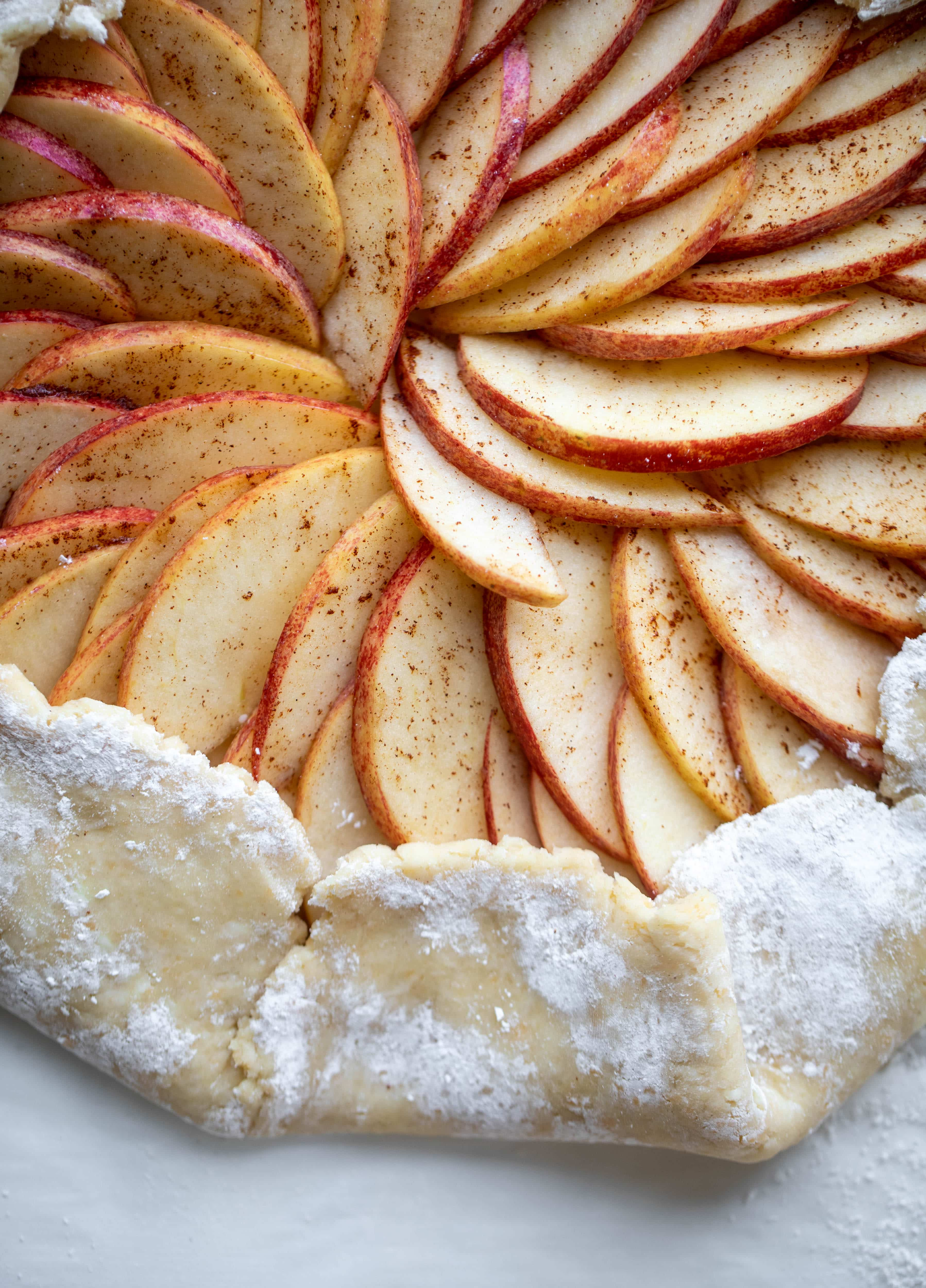 This apple cheddar galette is made with honeycrisp apples, set in a cheddar herb crust and brushed with thyme butter! So delicious and perfect for fall.