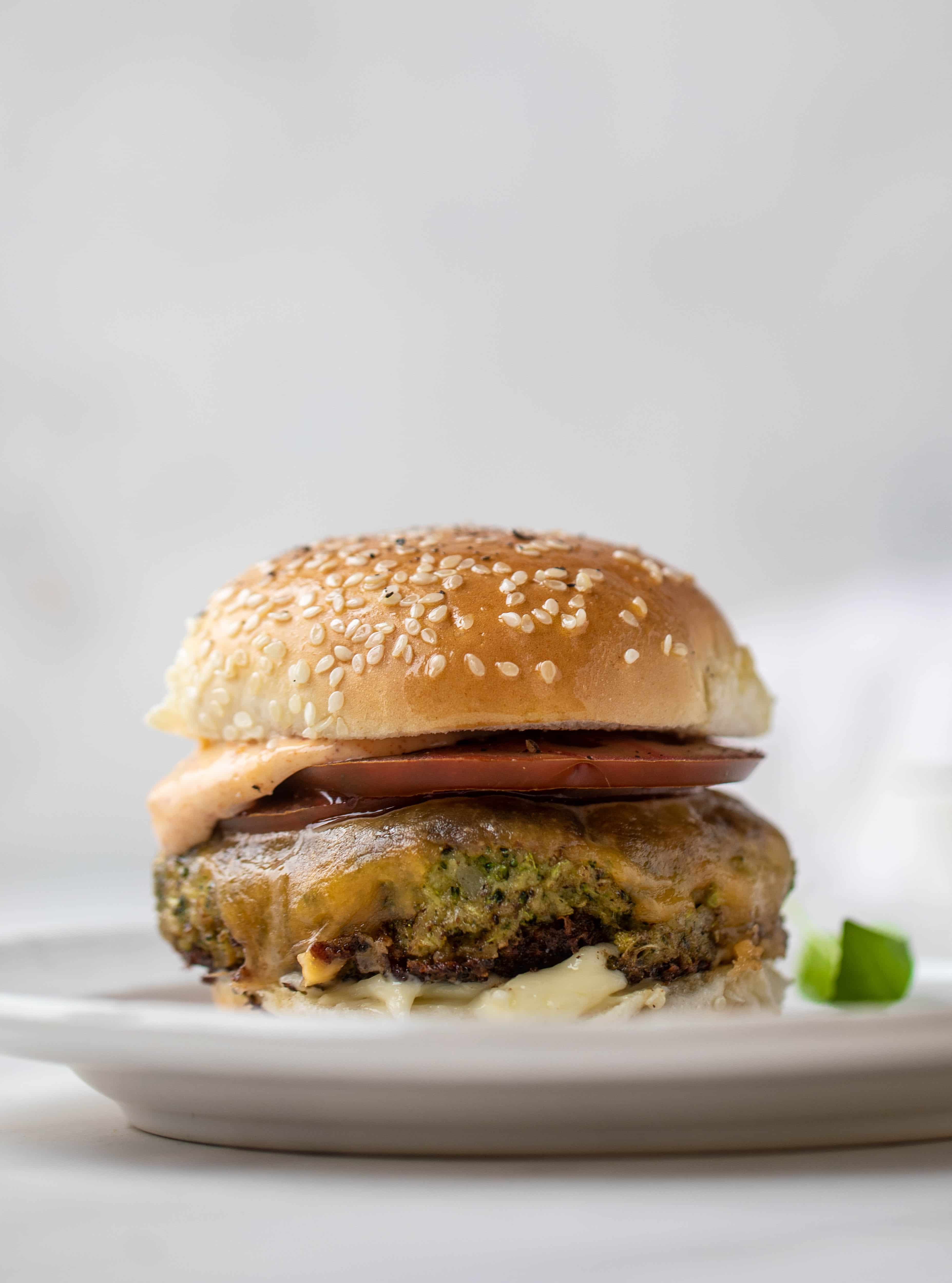 These broccoli cheddar burgers are a veggie burger dream! A little high maintenance, but packed with flavor and can be made ahead of time!