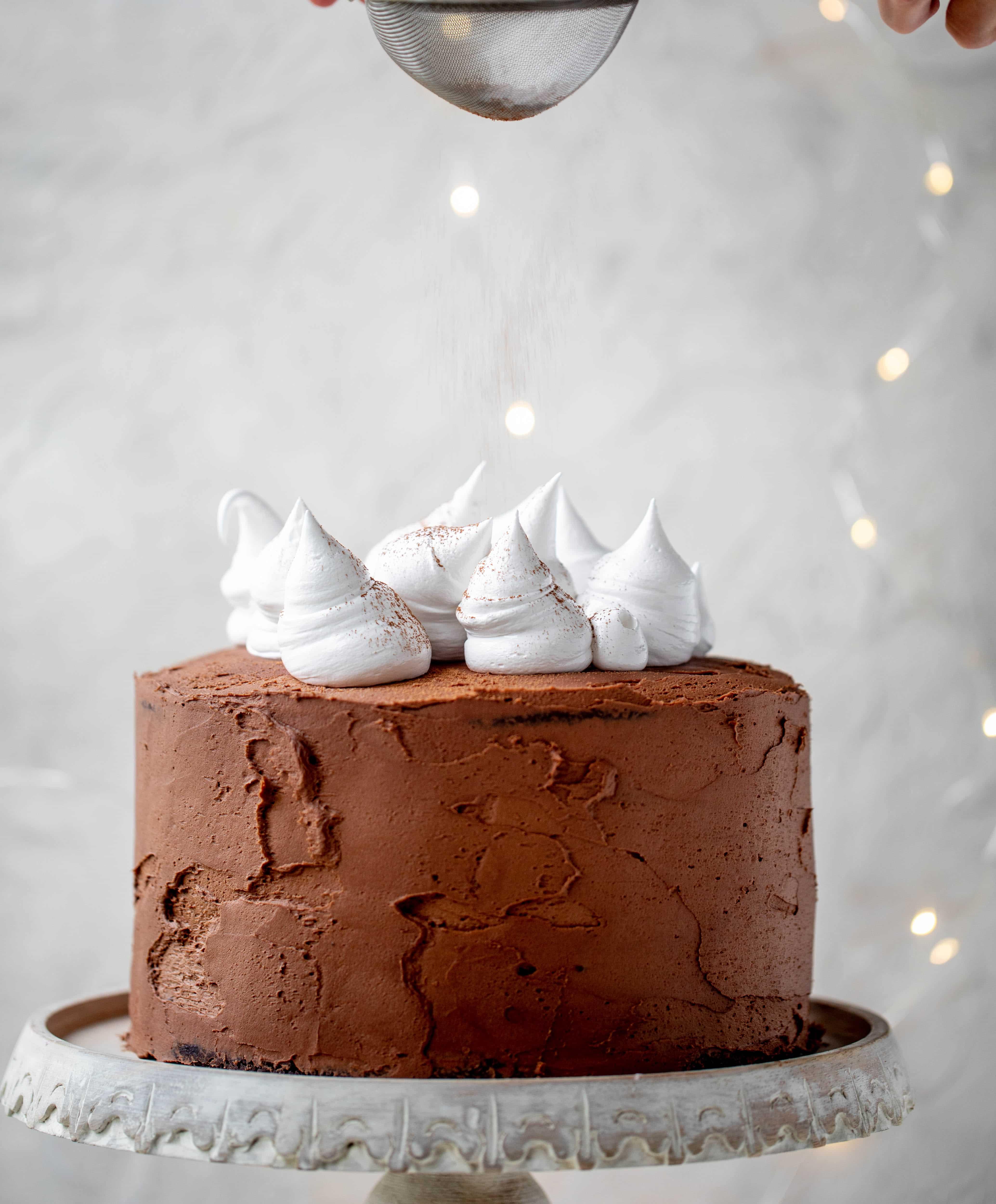 ¡Este pastel de chocolate caliente está hecho con el pastel de chocolate más dulce, cubierto con glaseado de queso crema de chocolate y cubierto con malvavisco batido!