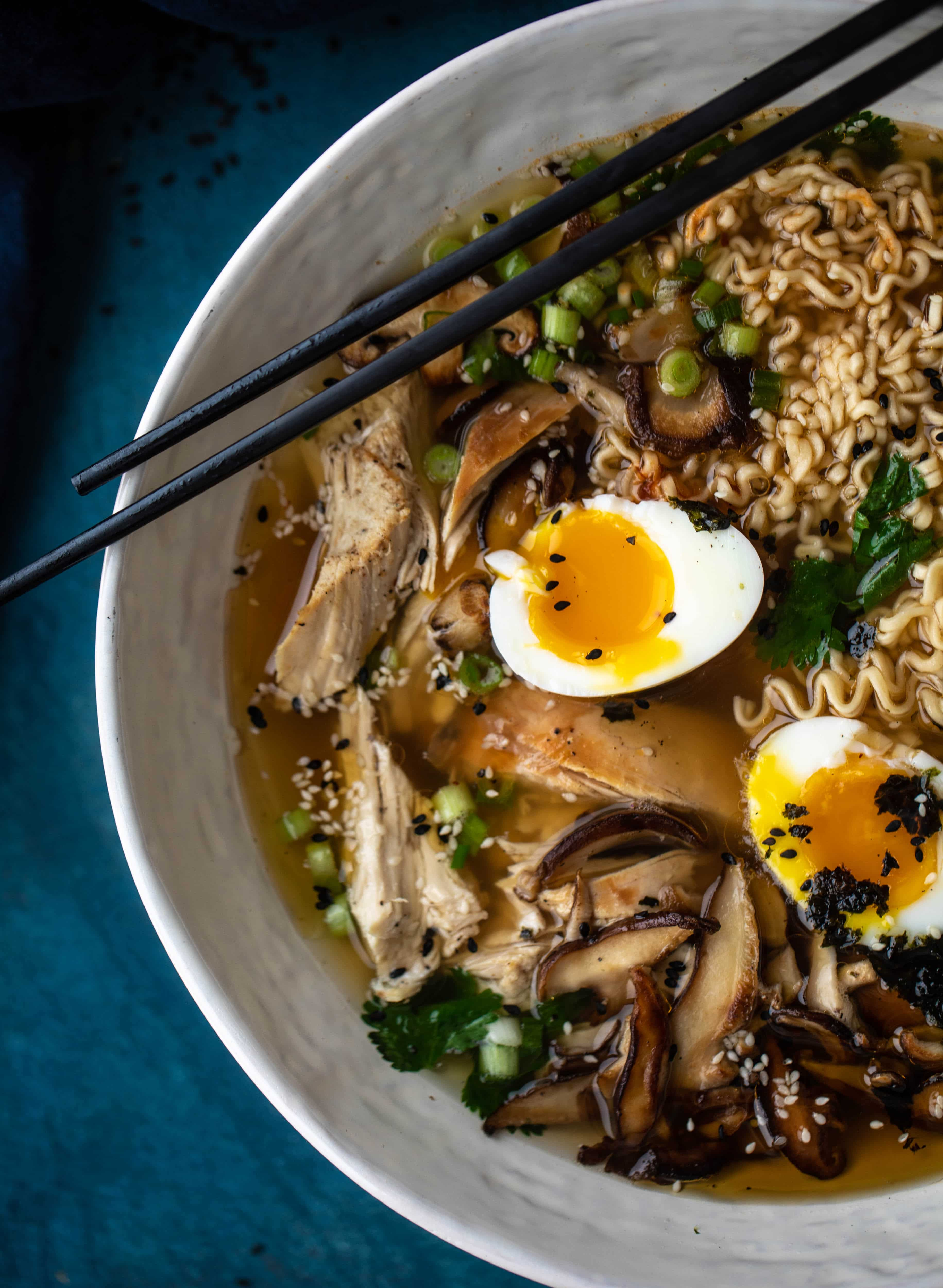 This roasted turkey ramen recipe is made with delish leftover Thanksgiving turkey, ramen noodles, a savory broth and soft boiled eggs!