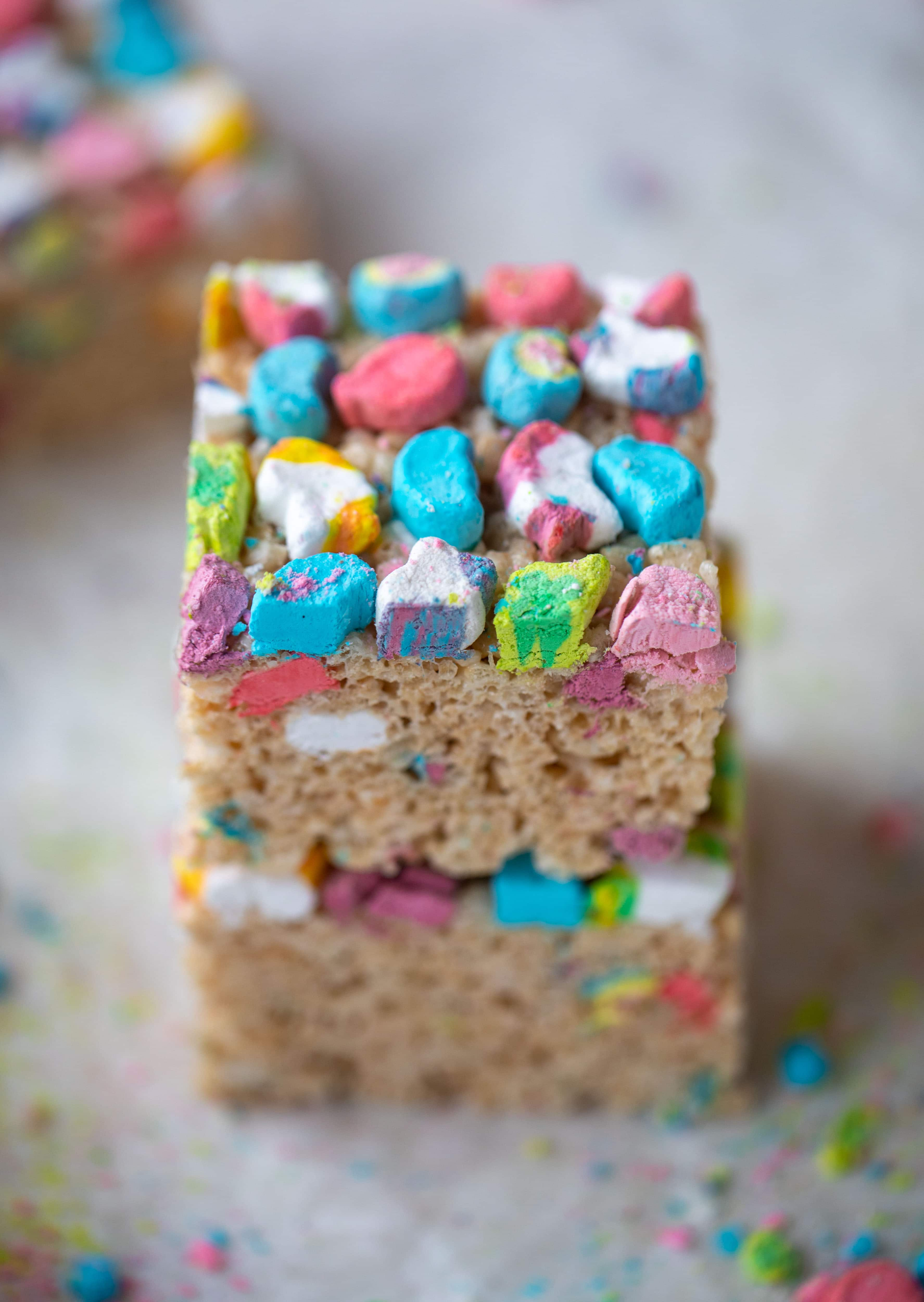 These lucky charms rice krispie treats are a throwback recipe to one of my favorite childhood treats! Here's a little festive twist for Saint Patrick's Day.