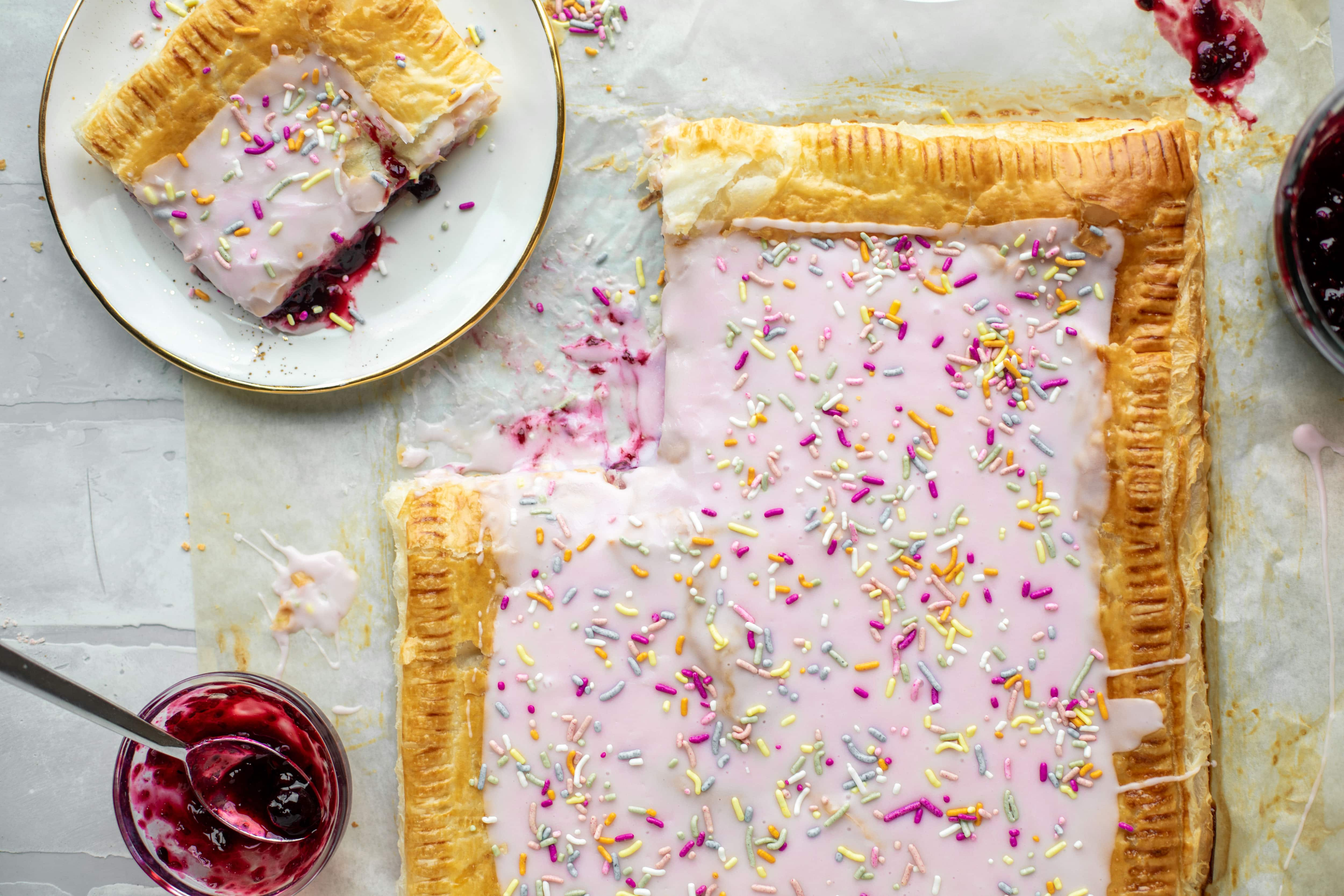 This giant pop tart recipe can be made exclusively with ingredients in your freezer! I love to make a berry lavender flavor - so perfect for spring!