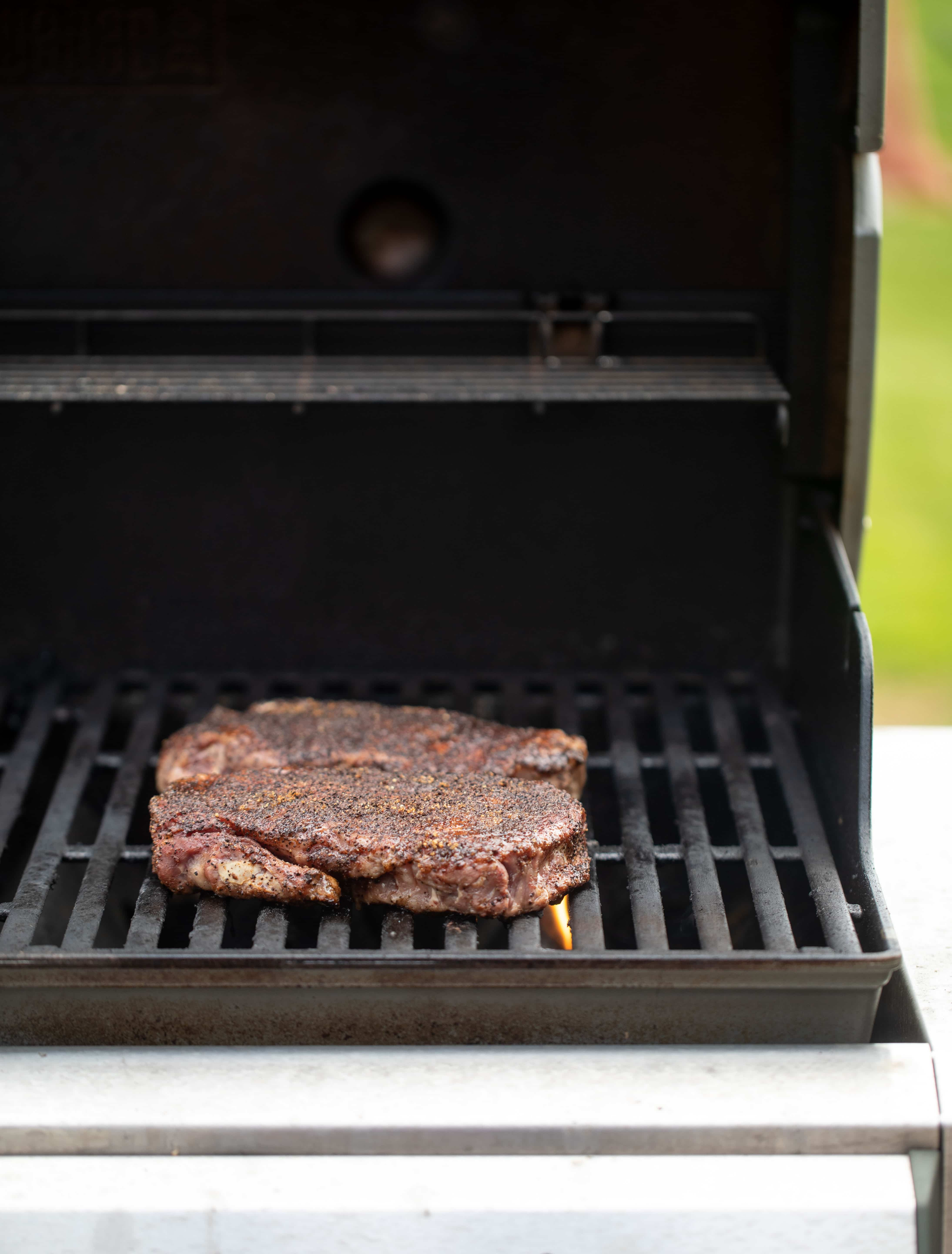 coffee crusted steak on the grill