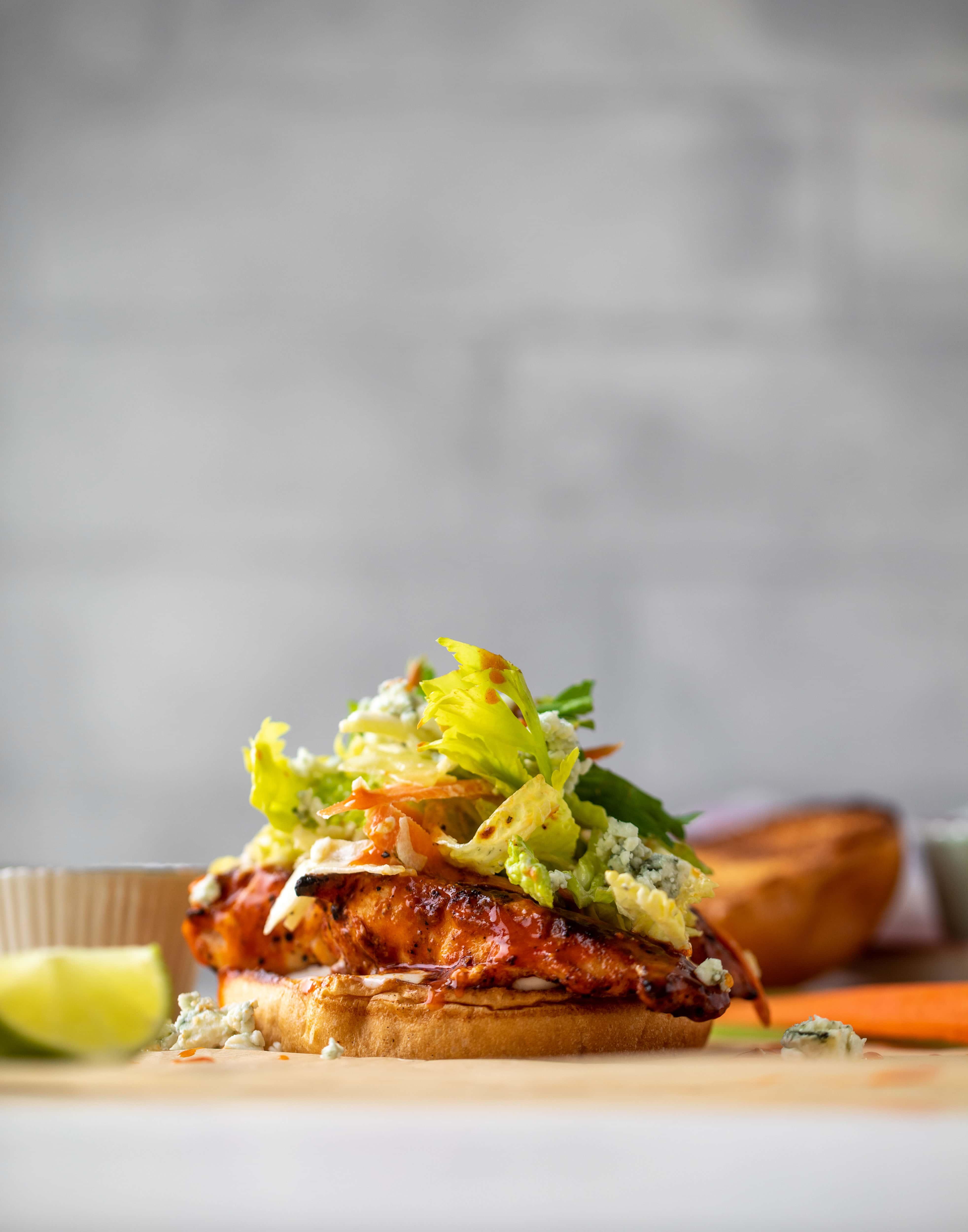 grilled buffalo chicken sandwiches with gorgonzola slaw