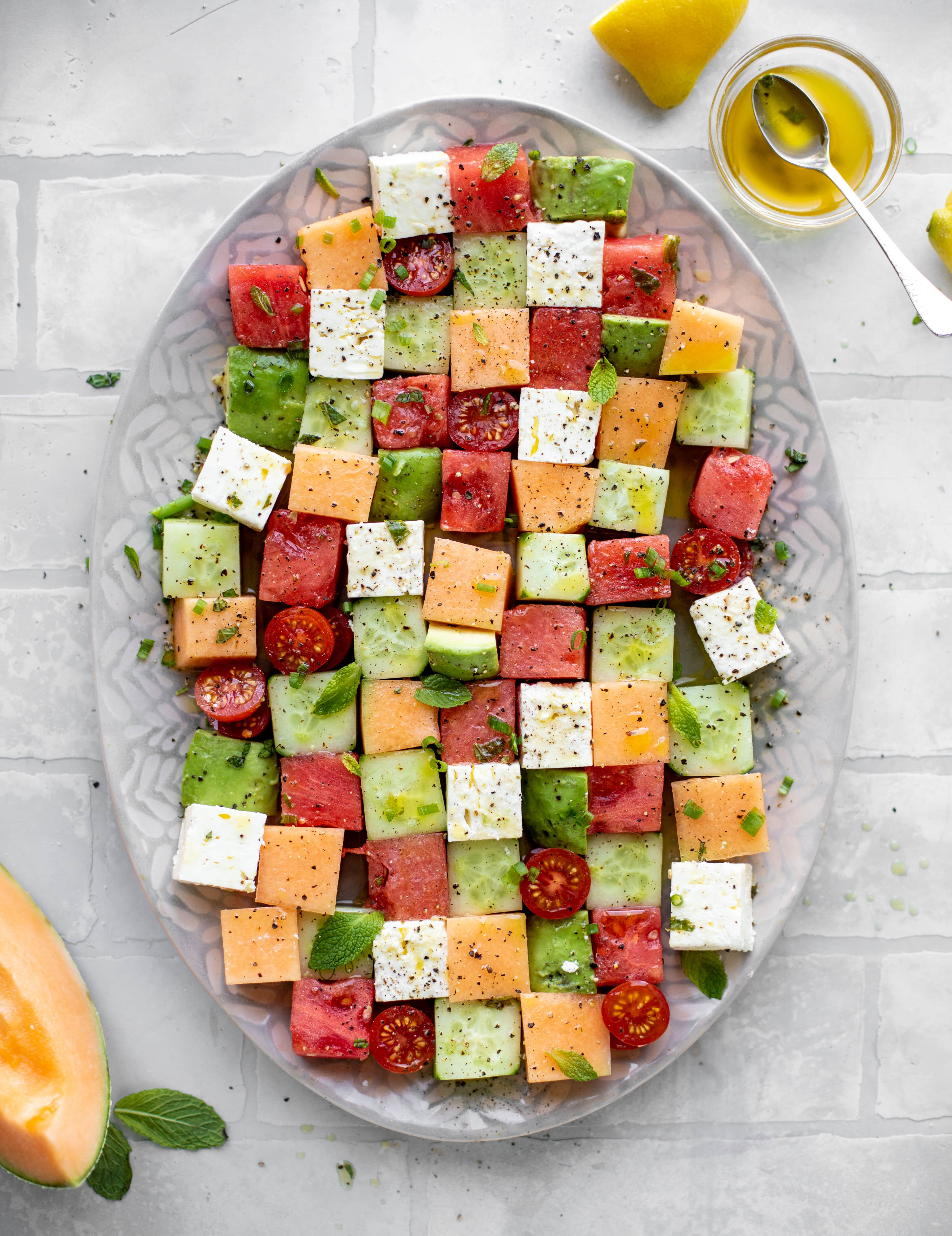 melon mosaic salad with hot honey vinaigrette