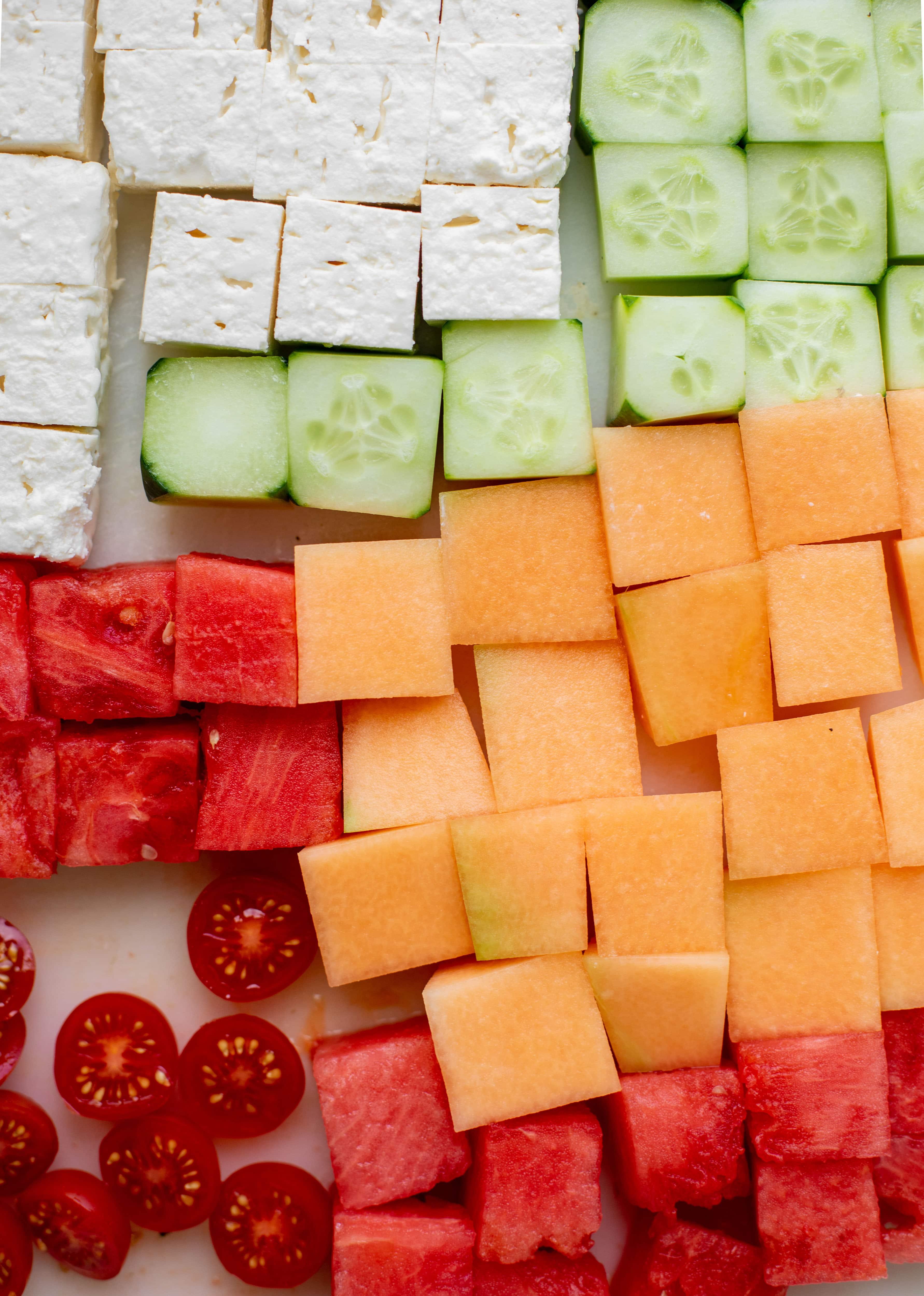 chopped feta, cucumber, watermelon, cantaloupe and tomatoes