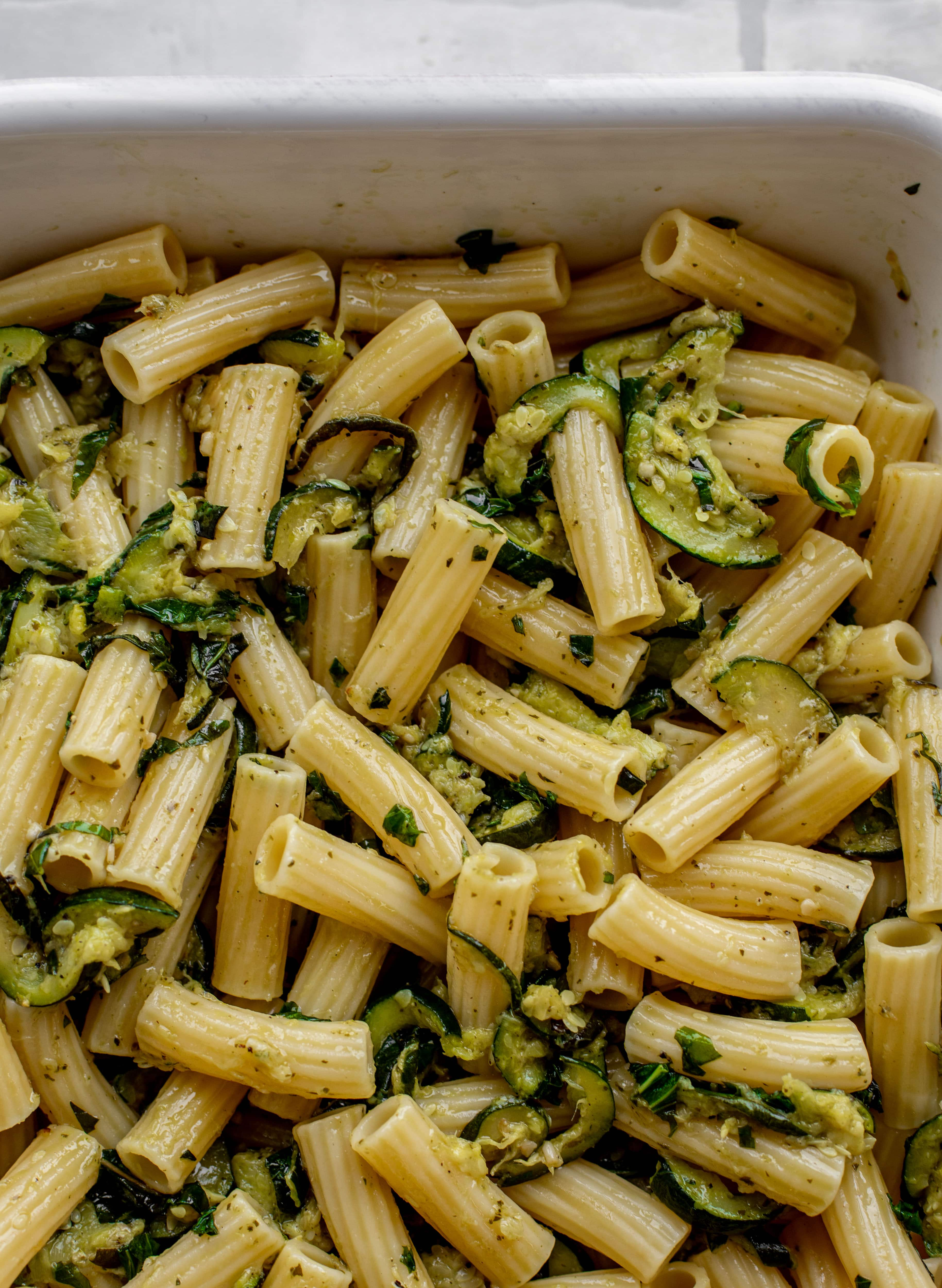 pasta tossed with melted zucchini