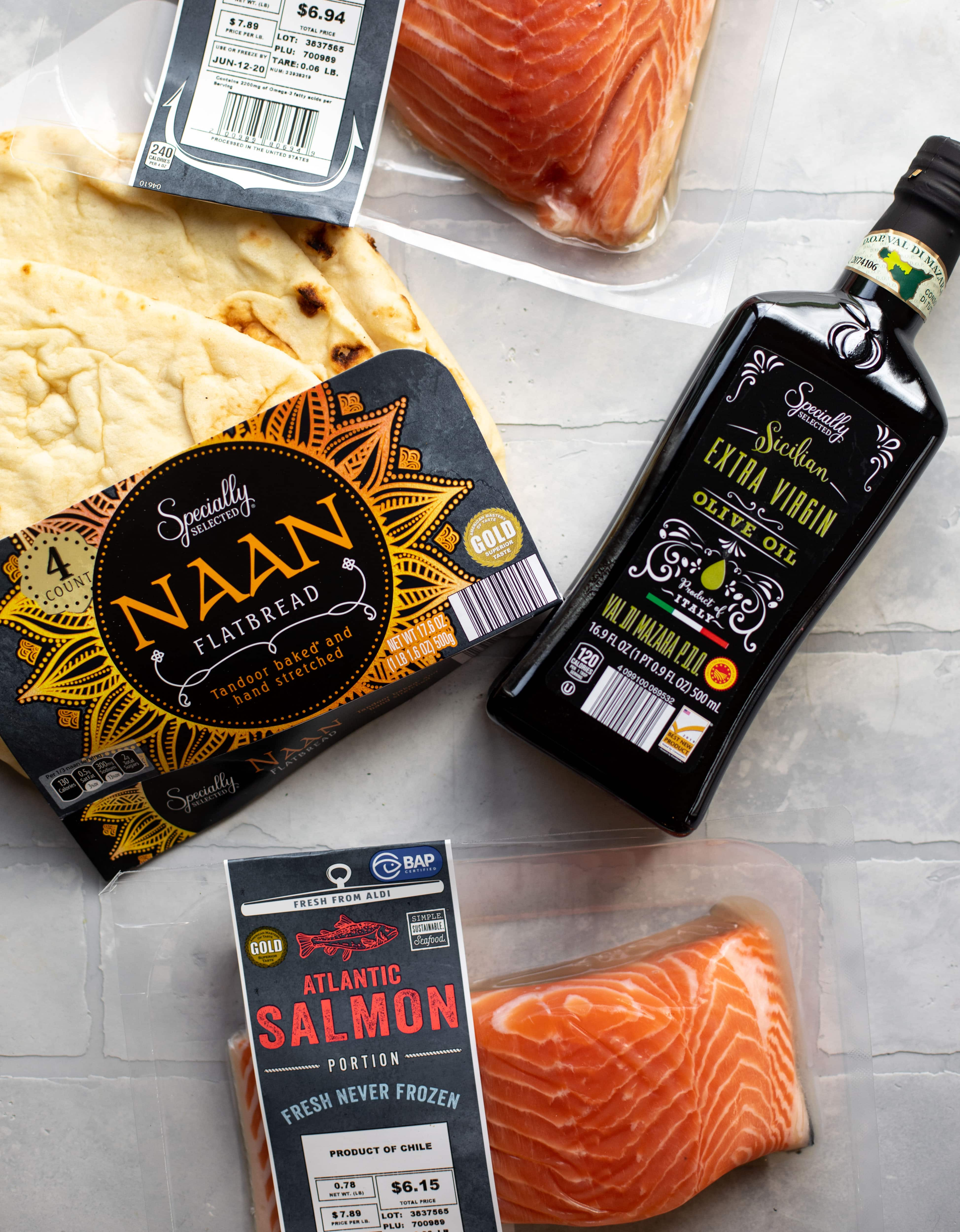 salmon, naan and olive oil from ALDI
