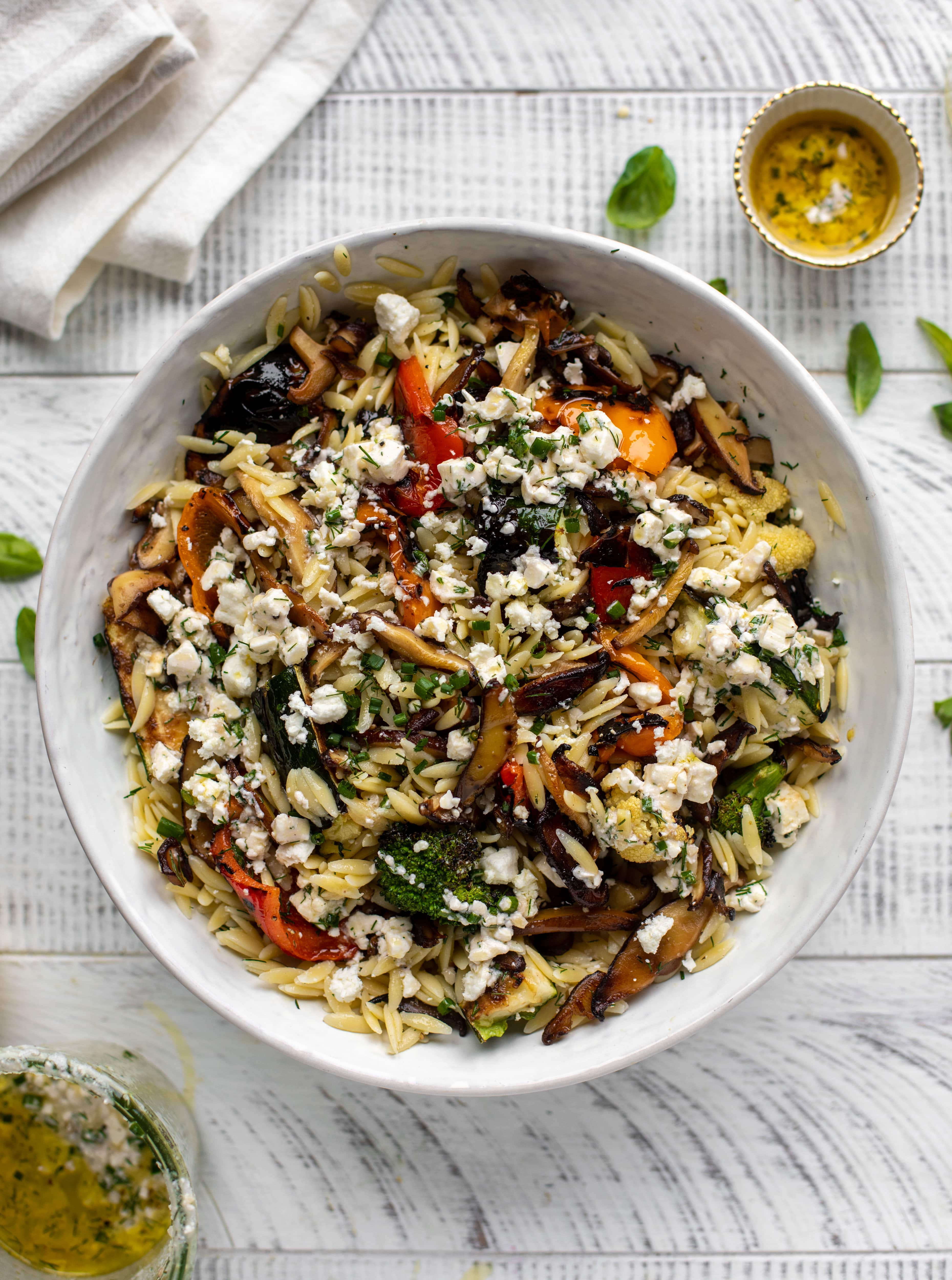grilled vegetable orzo with smashed feta vinaigrette