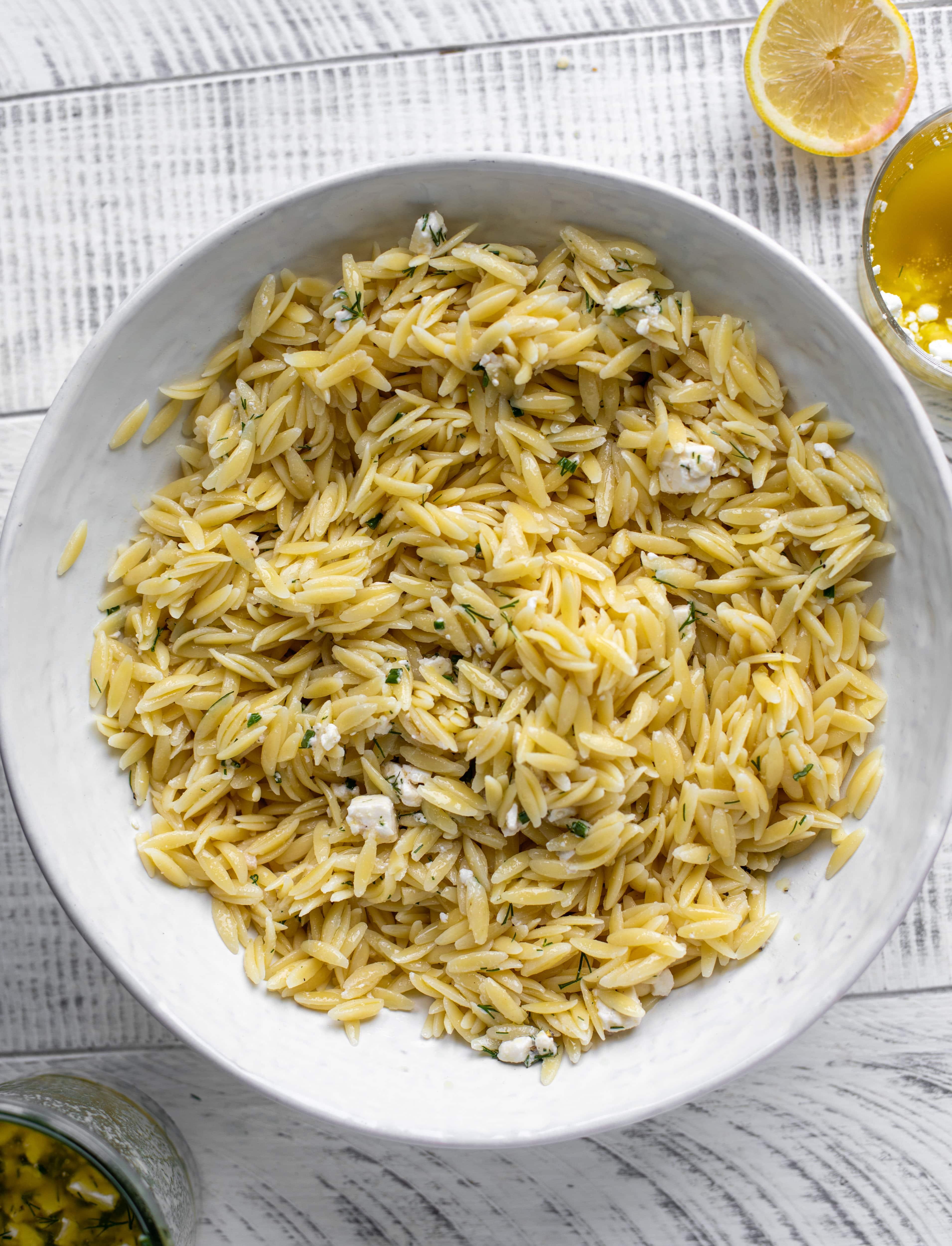 orzo with smashed feta vinaigrette