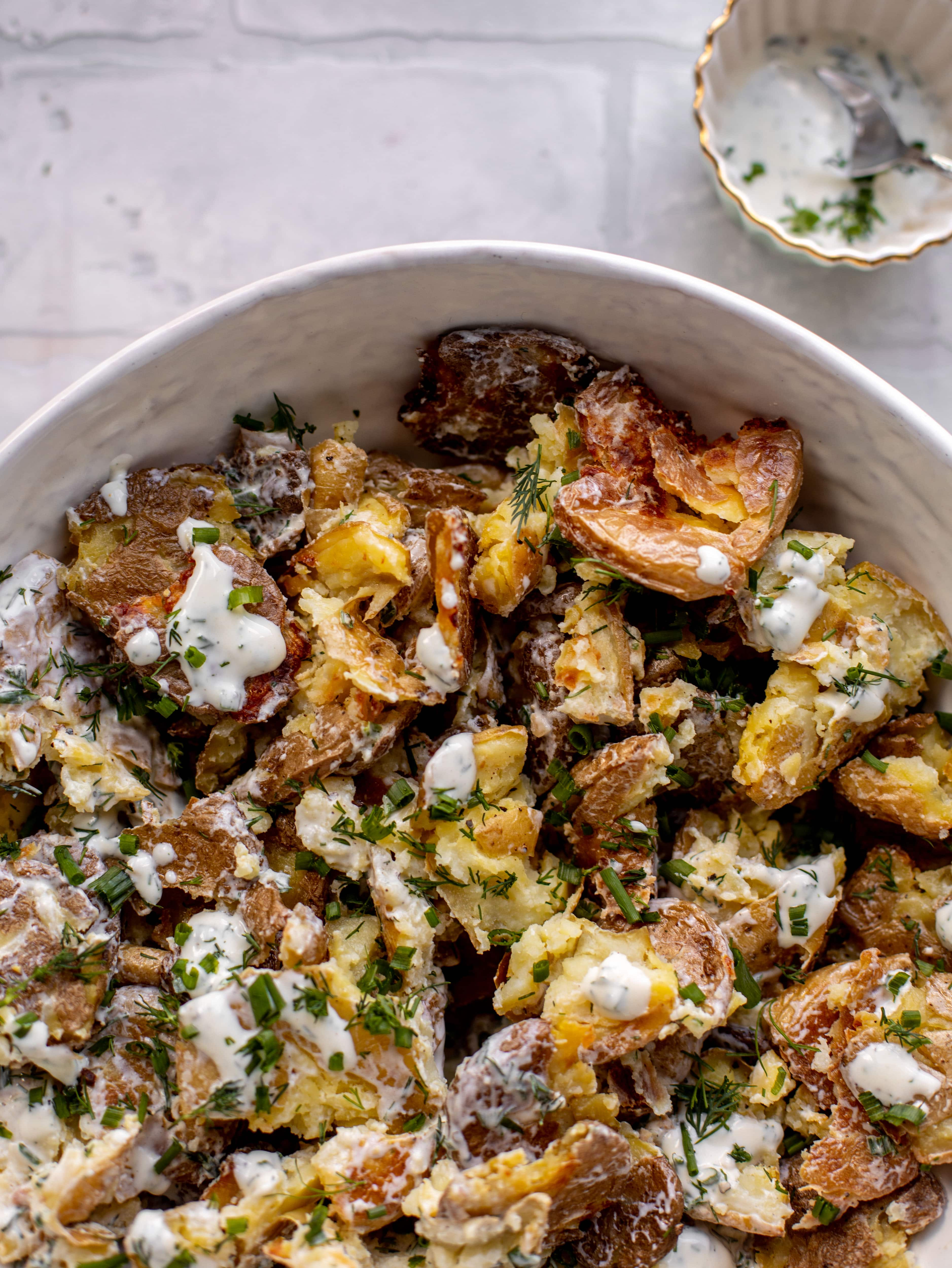 buttermilk herb smashed potato salad