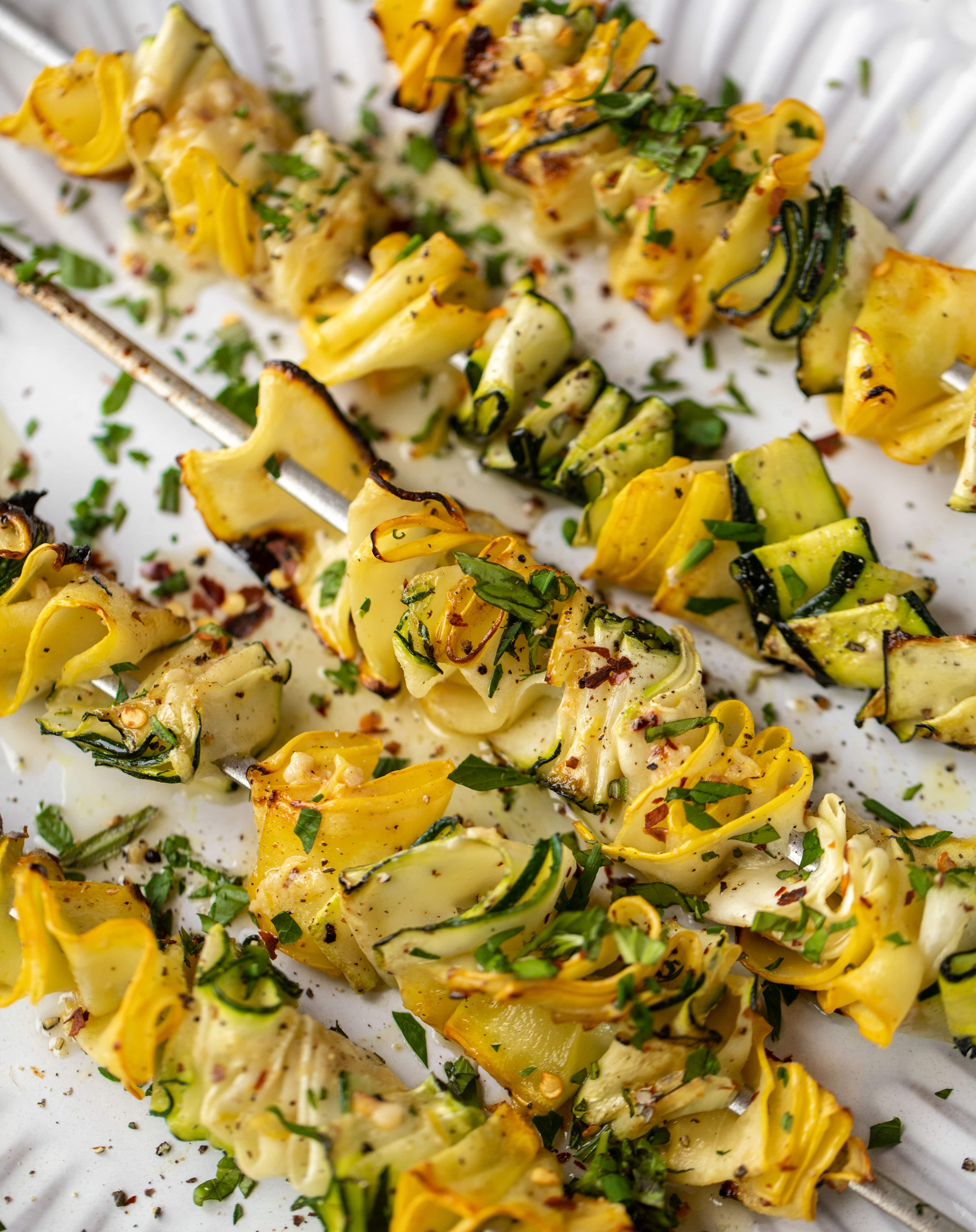 zucchini skewers with spicy lemon garlic butter