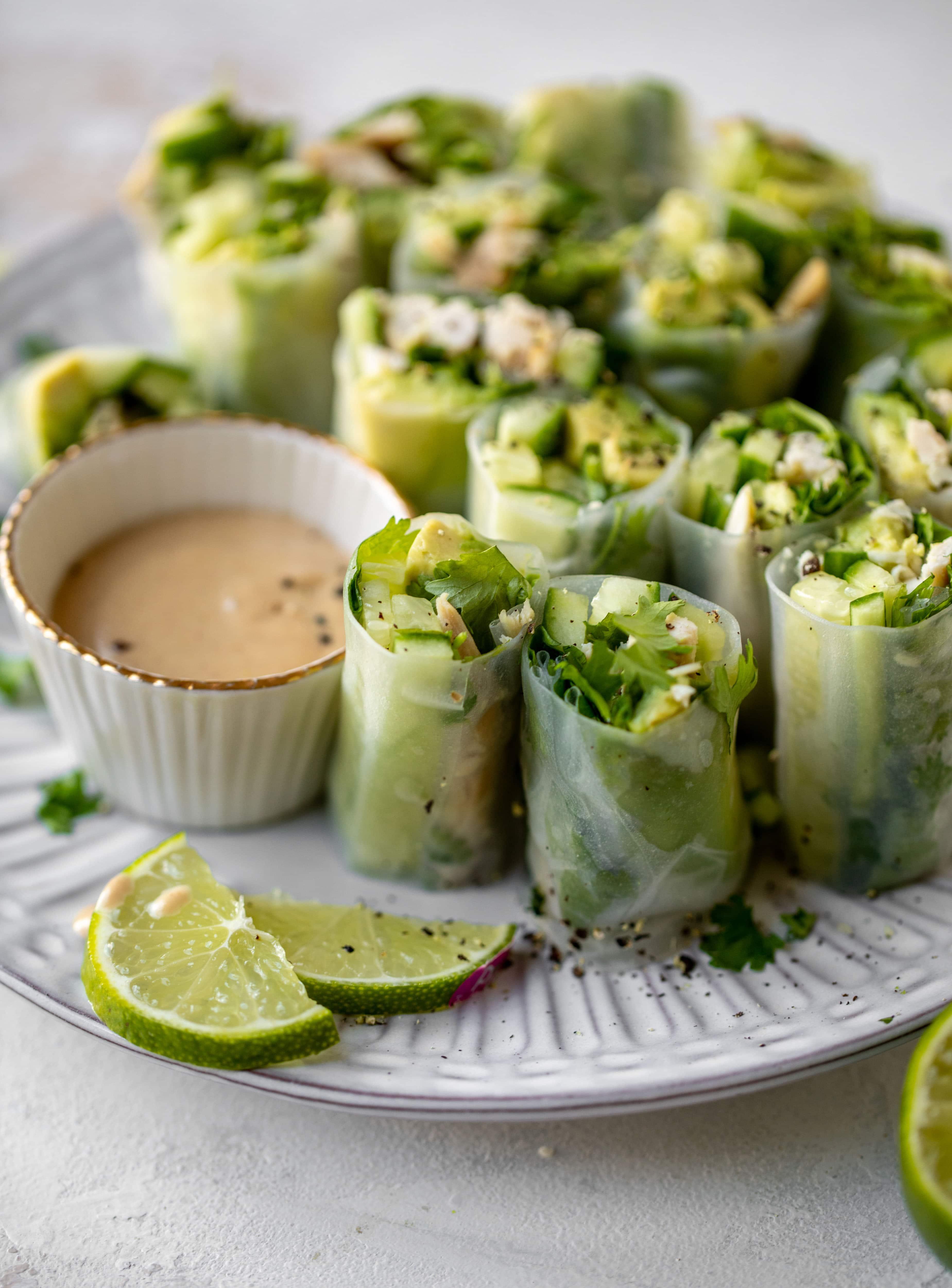 avocado chicken summer rolls