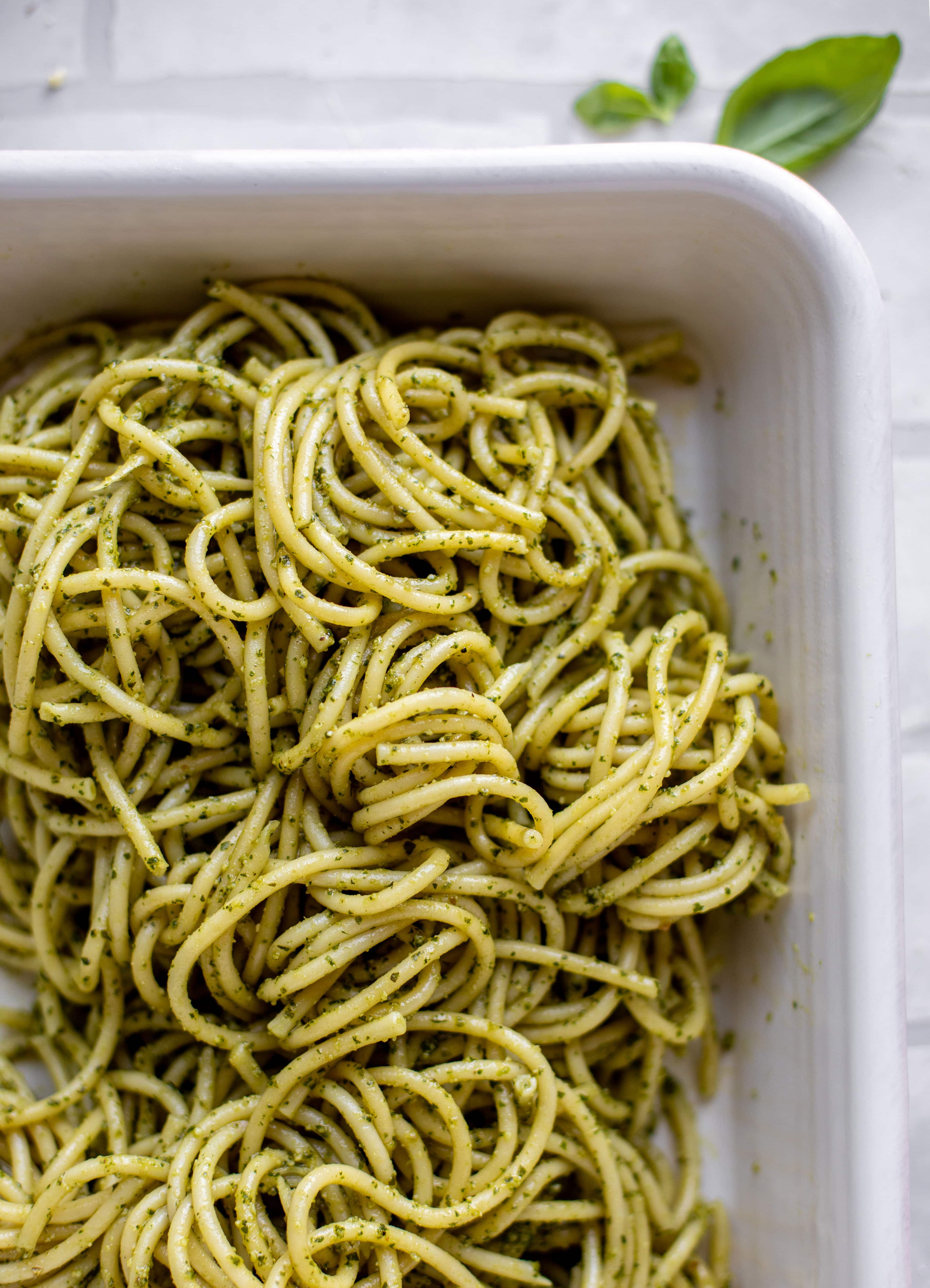 baked pesto bucatini