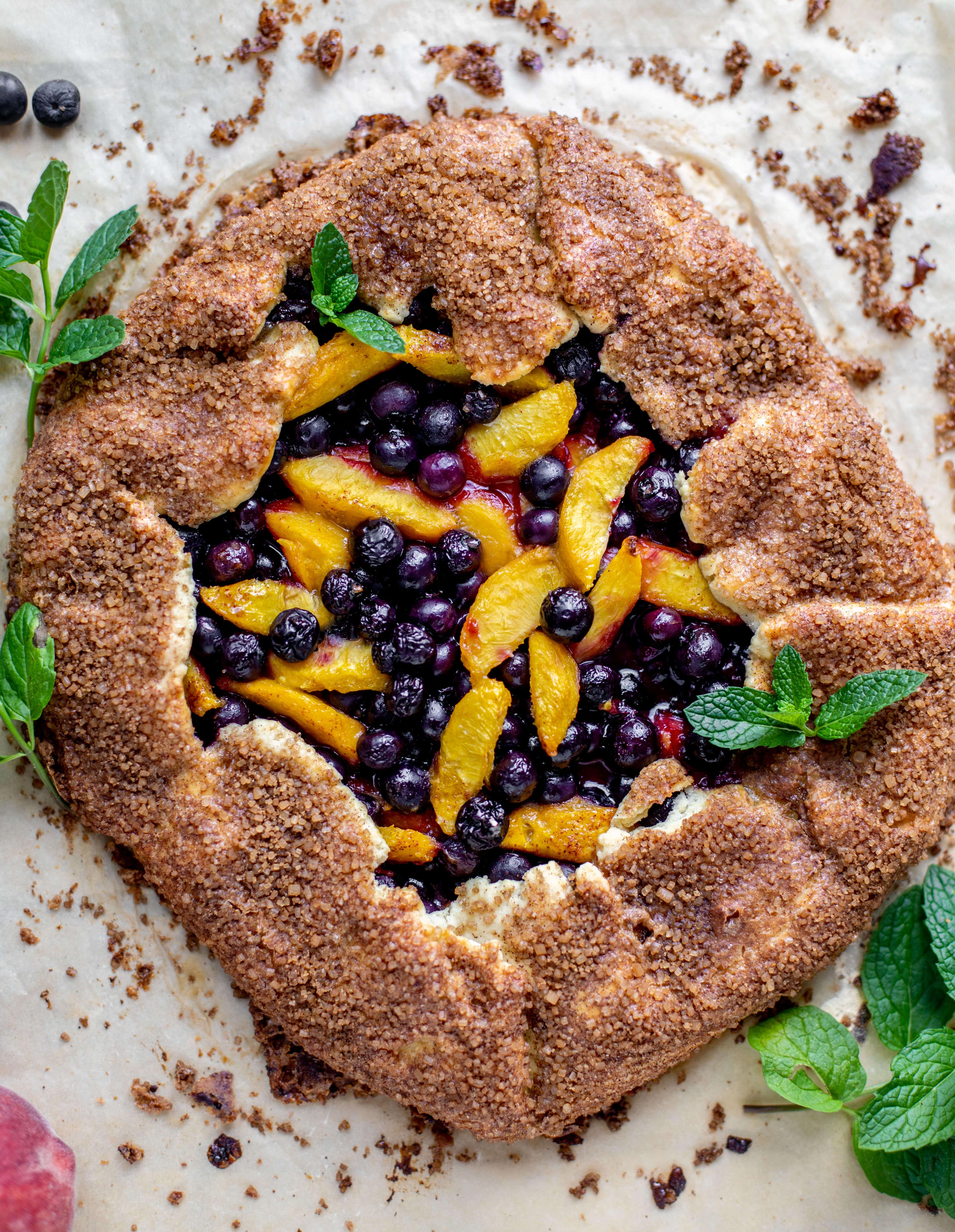 blueberry peach galette with cinnamon sugar galette
