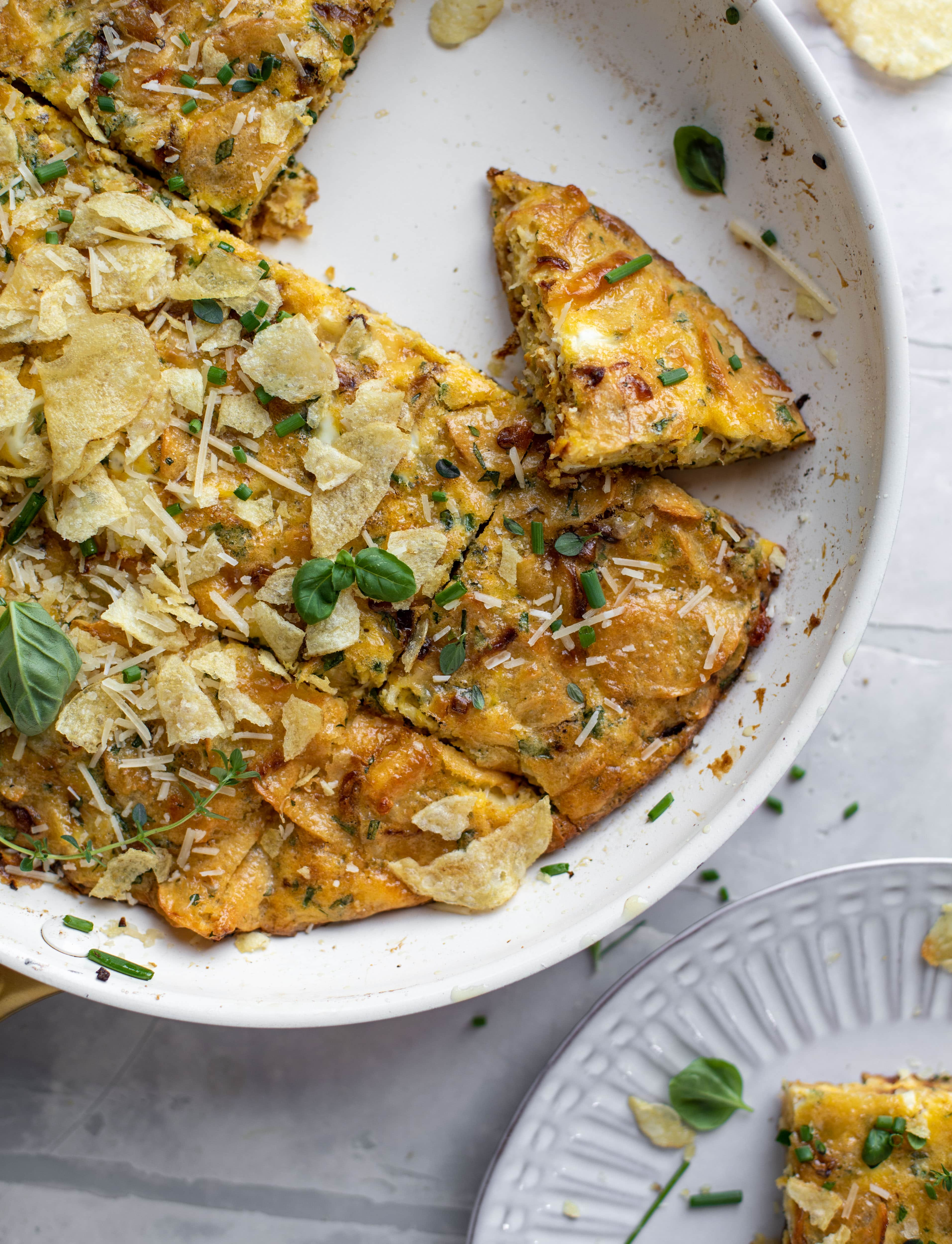 potato chip frittata with fresh herbs