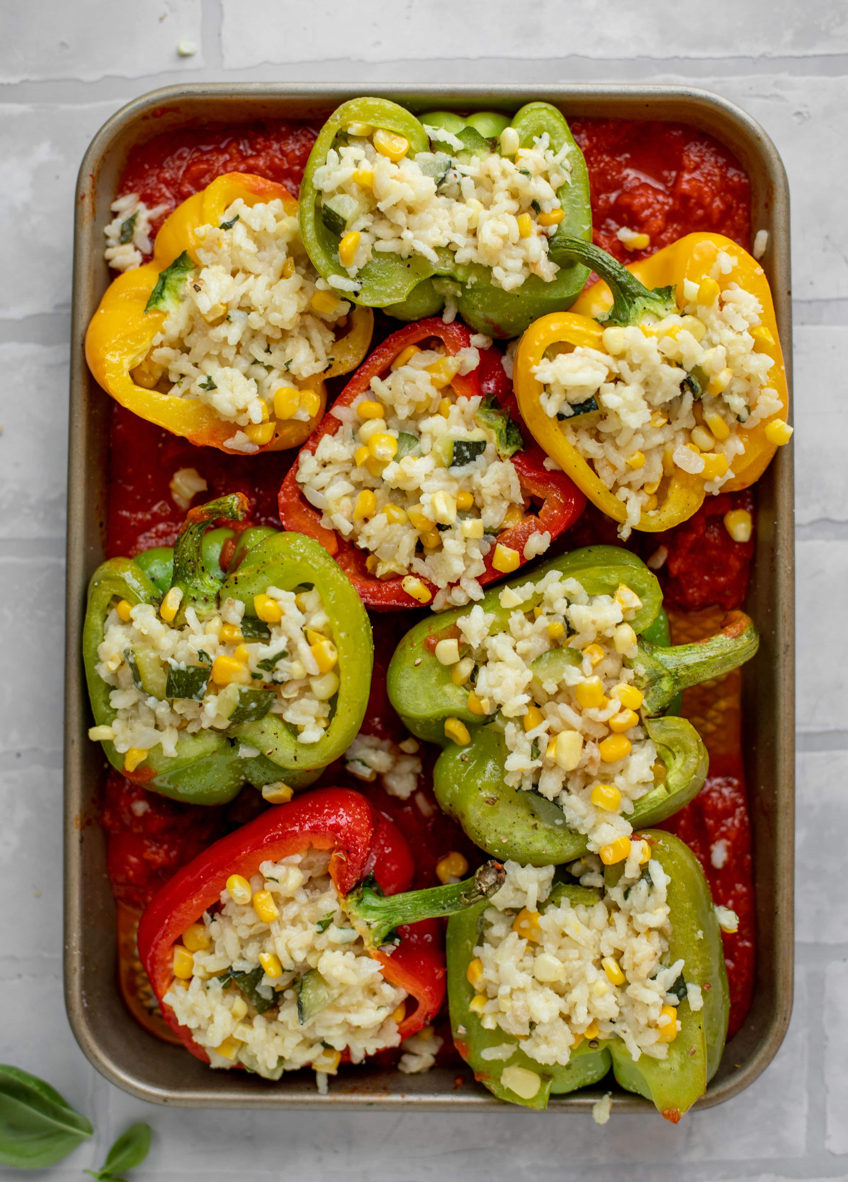 summer risotto stuffed peppers before baking