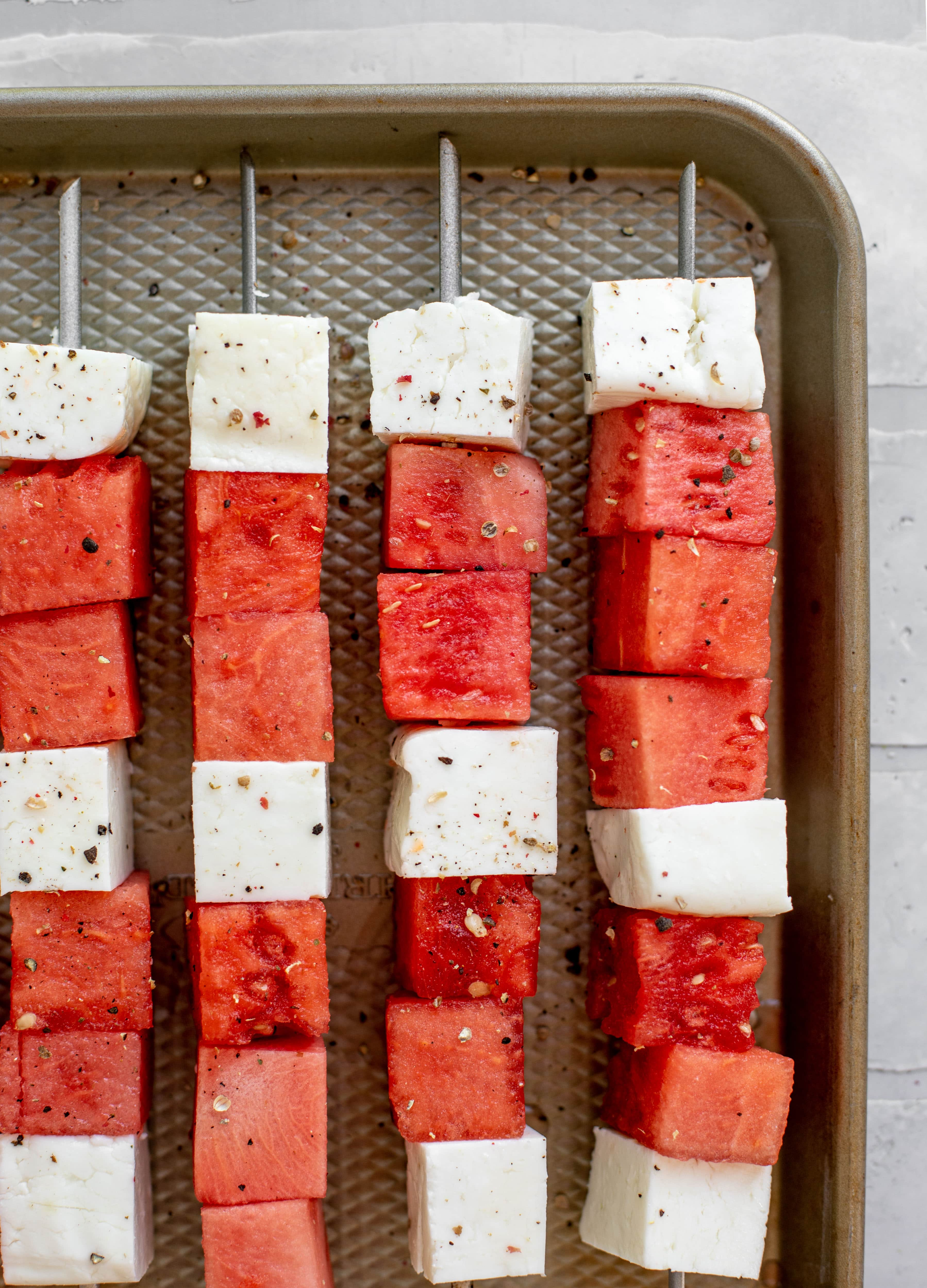 watermelon halloumi skewers ready for the grill