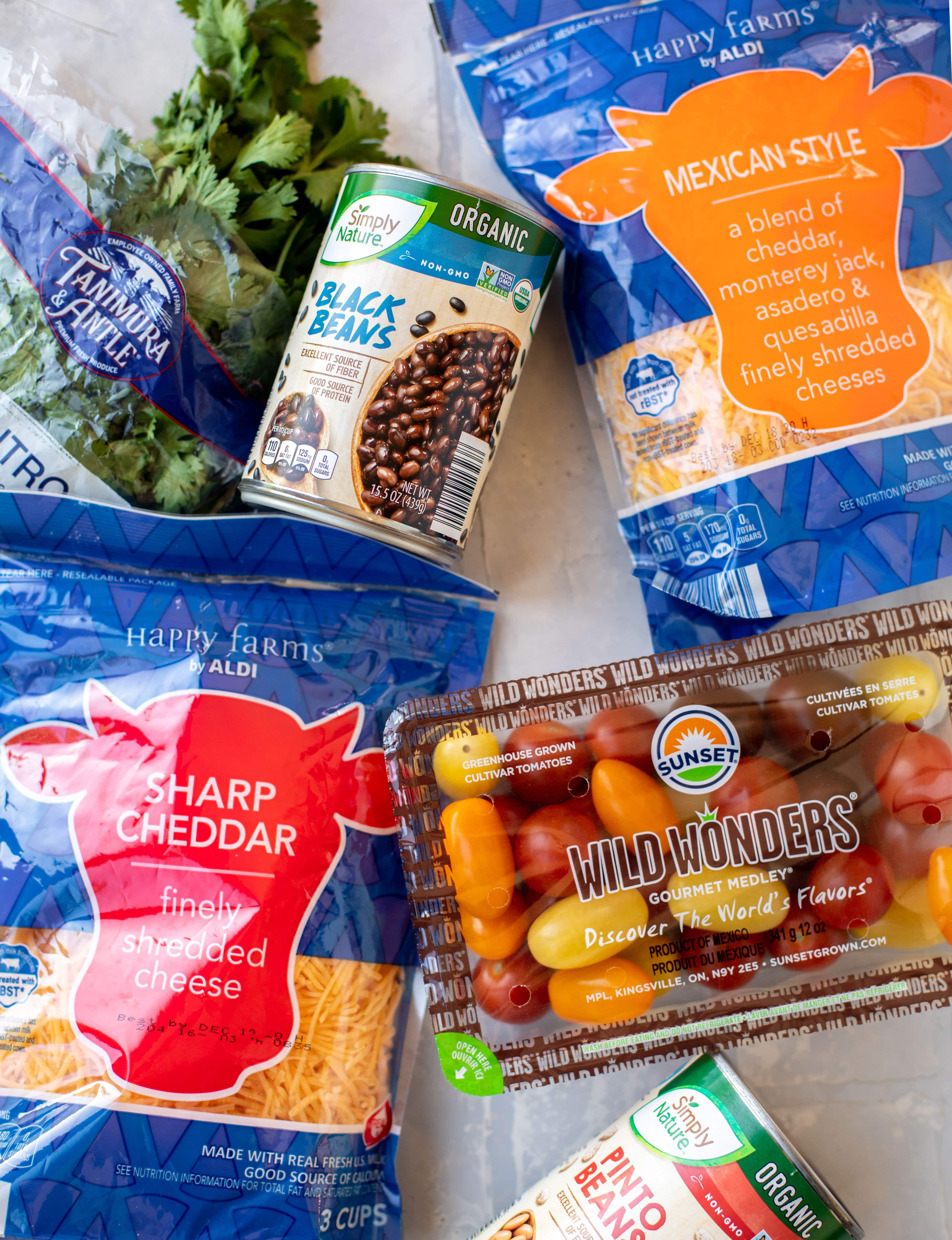 beans, cheese and produce from ALDI