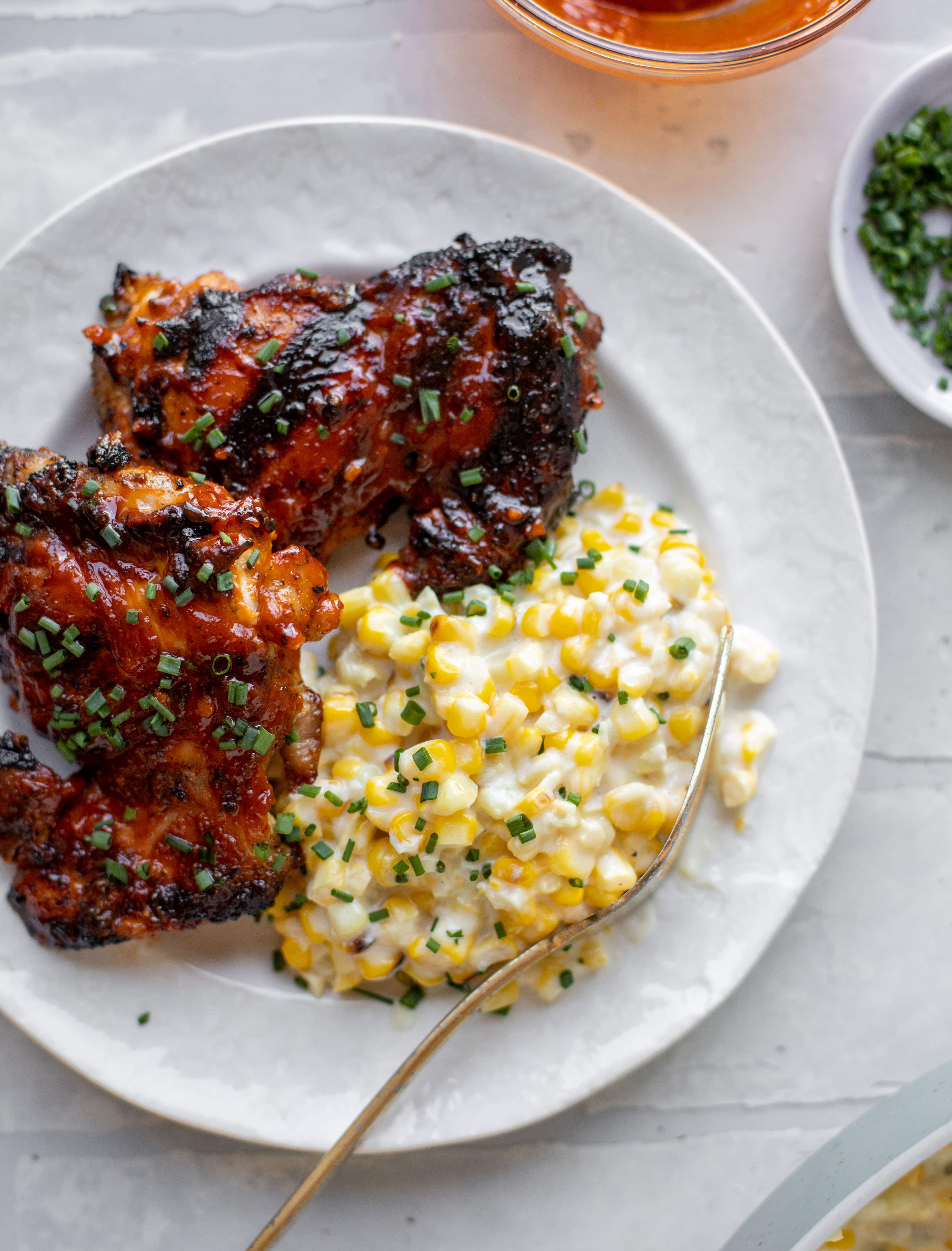chipotle bbq beer chicken with creamed corn