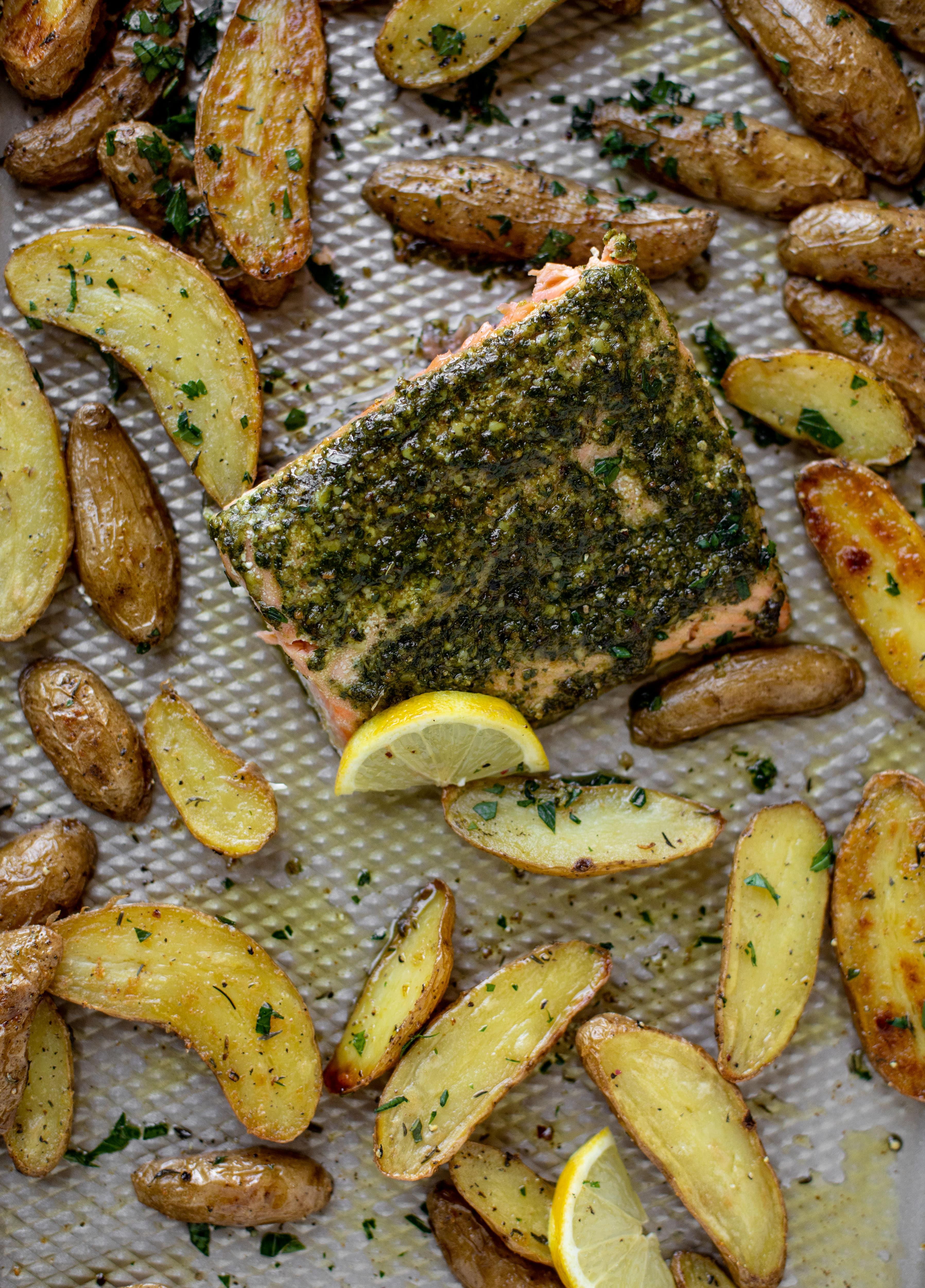 sheet pan pesto salmon with lemon thyme potatoes