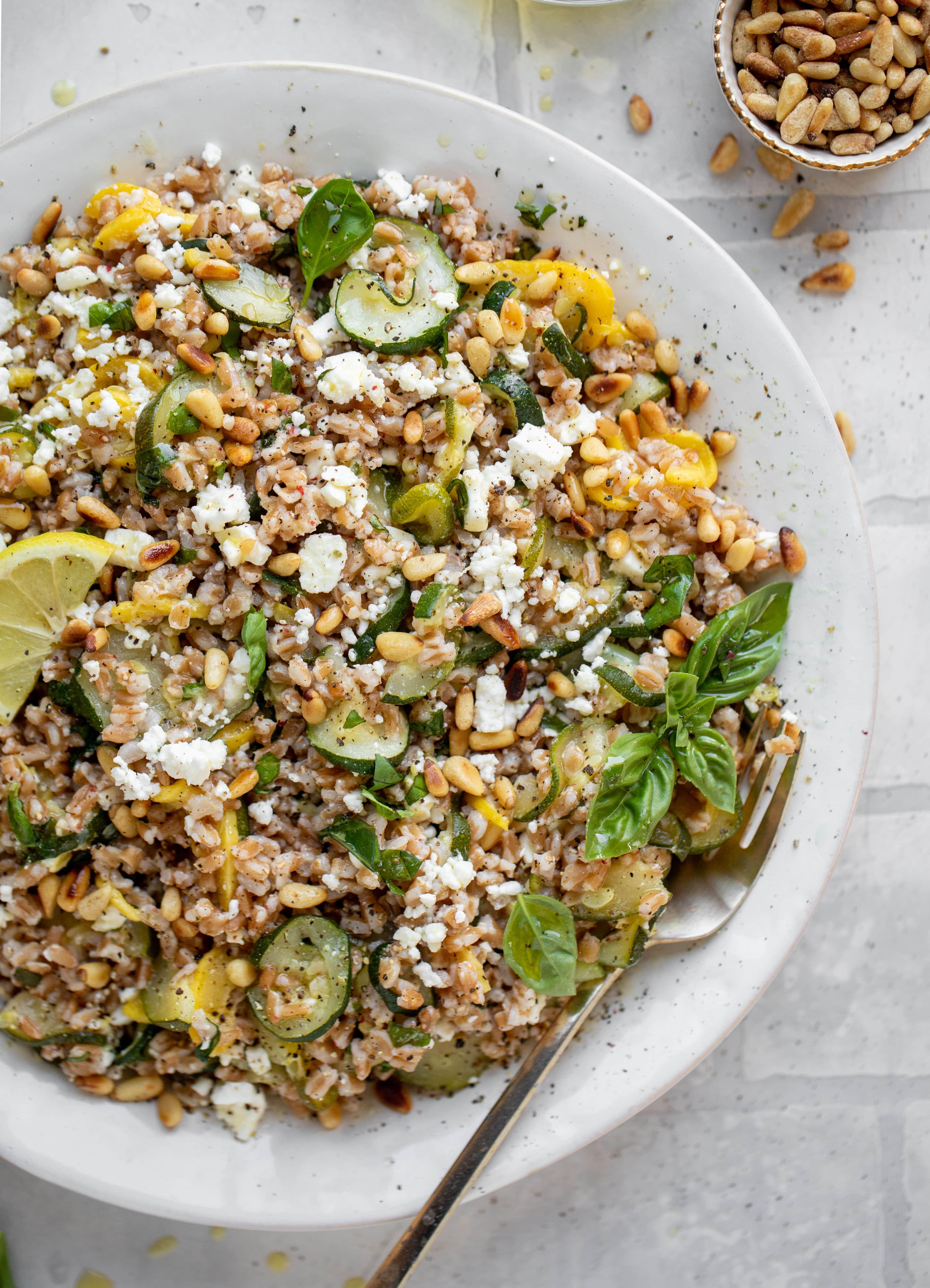 summer squash basil farro salad