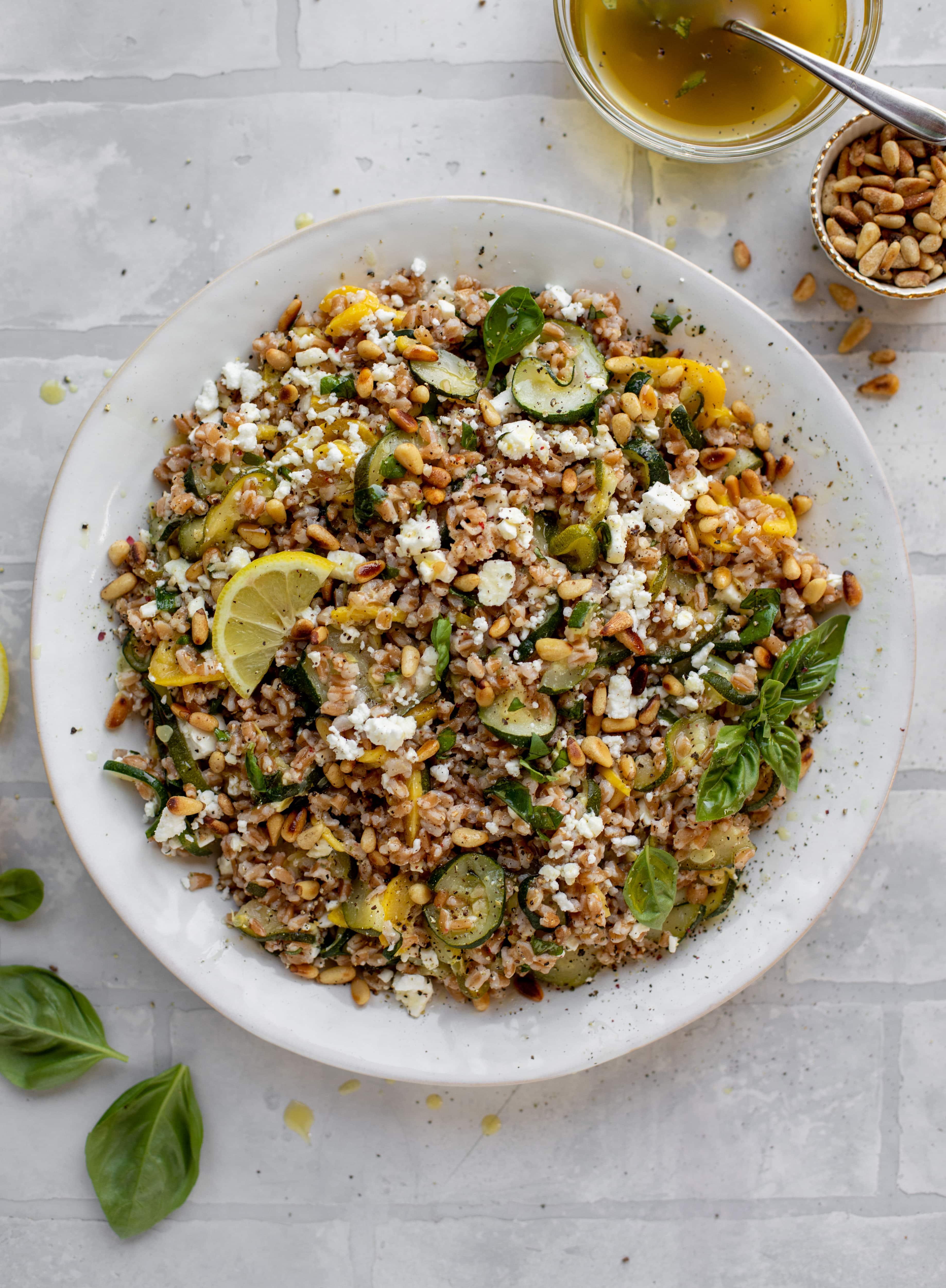 summer squash basil farro salad with lemon vinaigrette