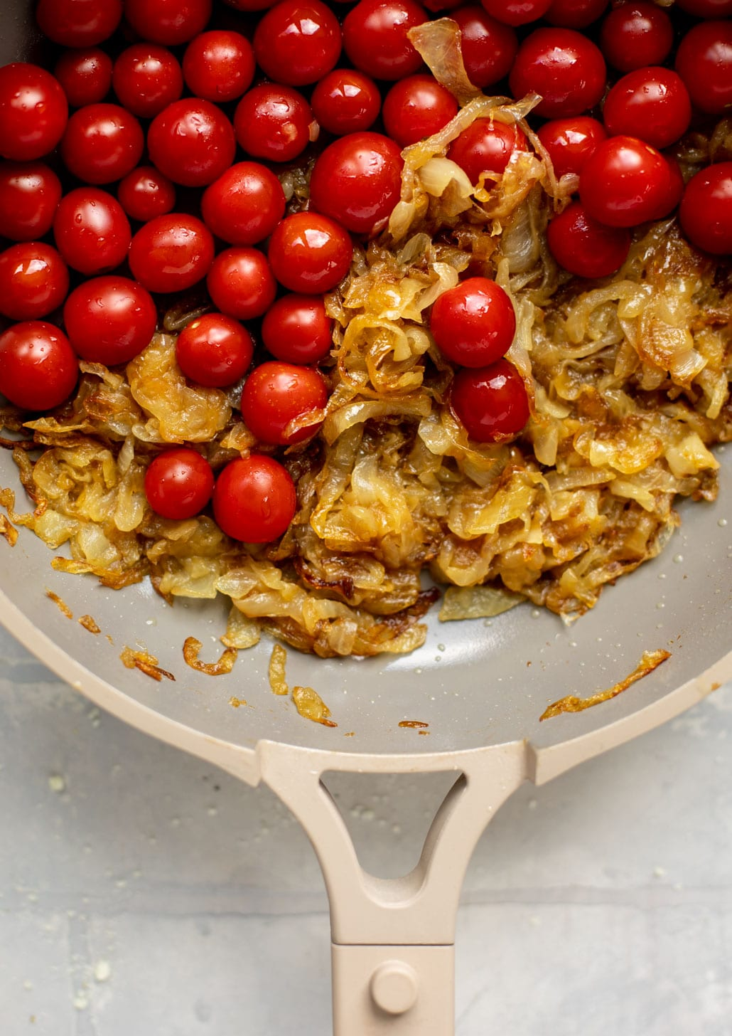 caramelized onions and cherry tomatoes