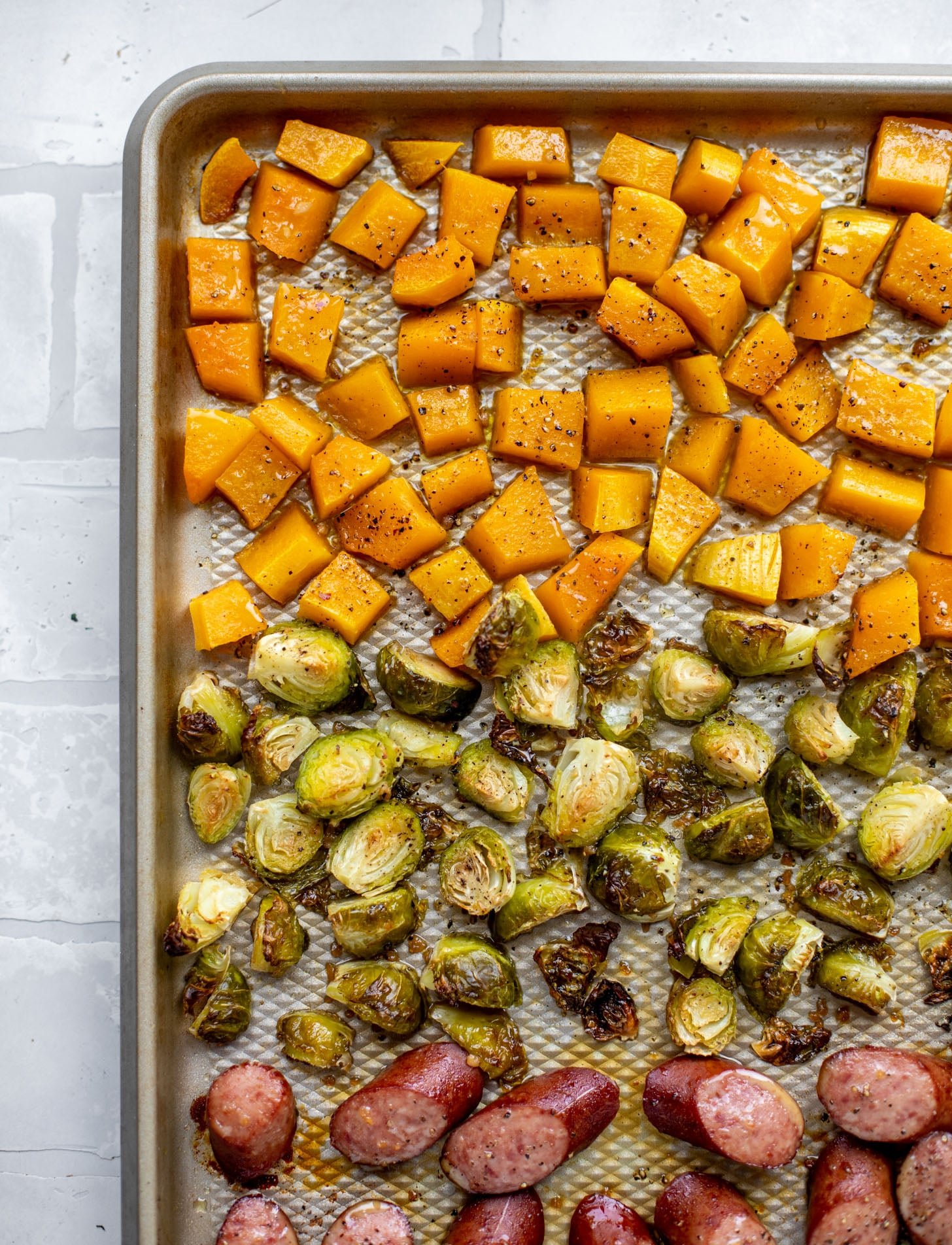 maple sheet pan smoked turkey sausage with butternut squash and brussels sprouts