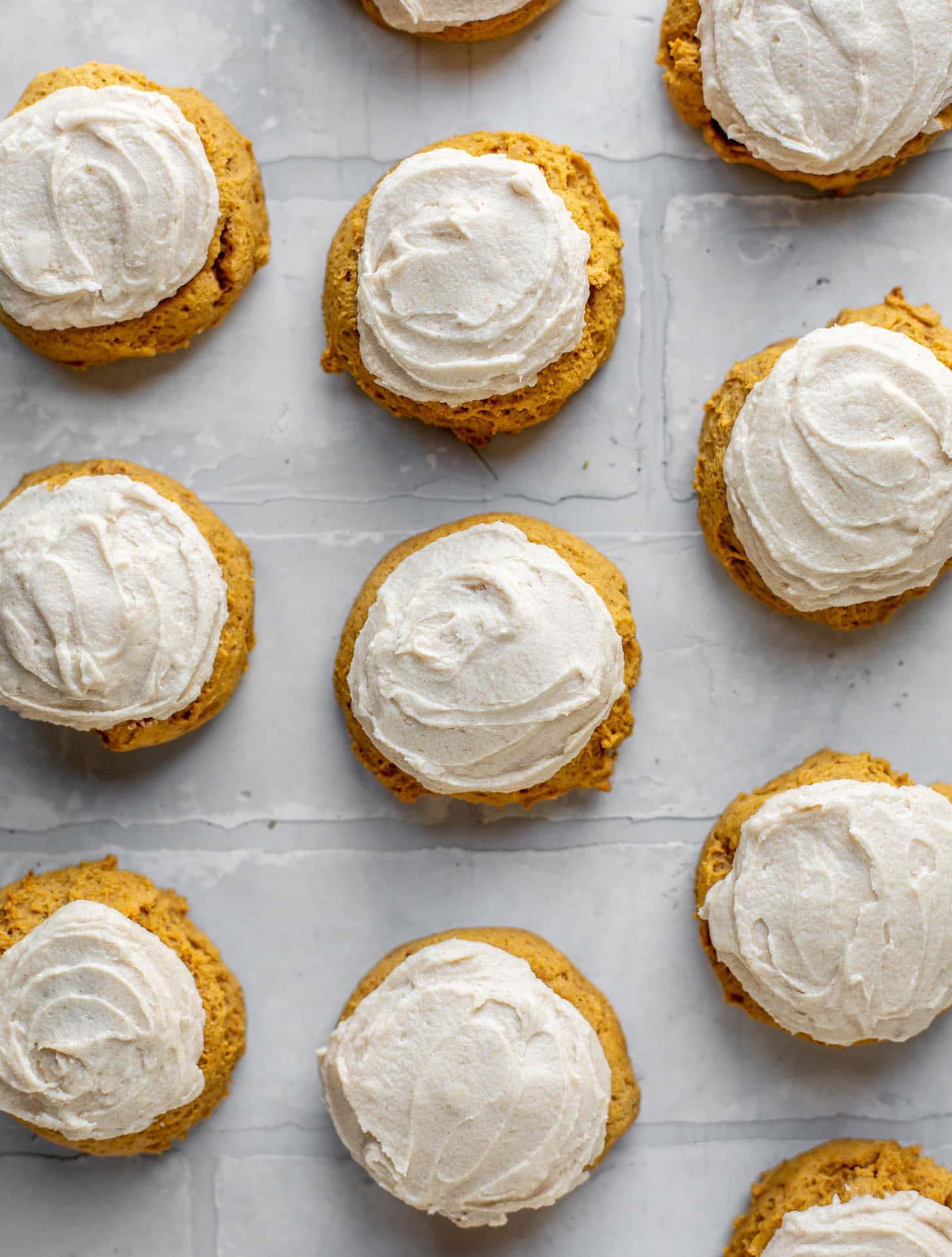 brown butter iced pumpkin cookies