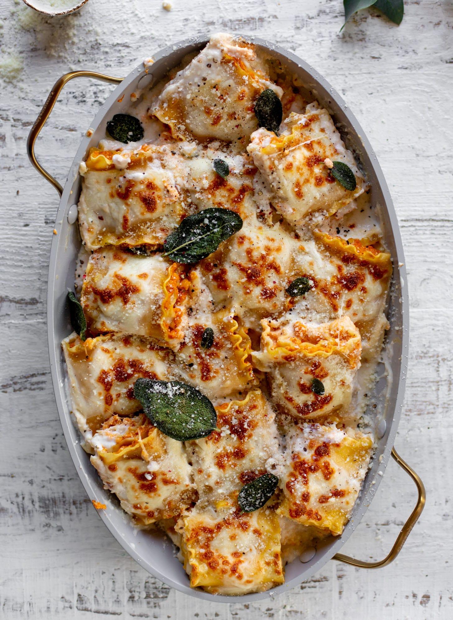 pumpkin lasagna roll ups with crispy sage