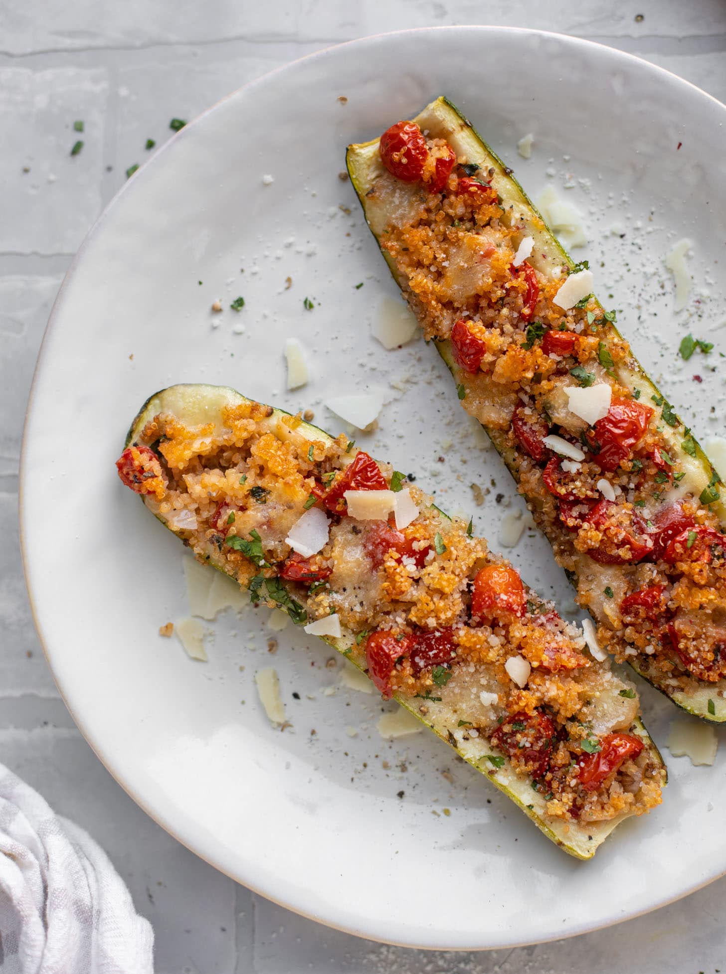 bruschetta quinoa zucchini boats