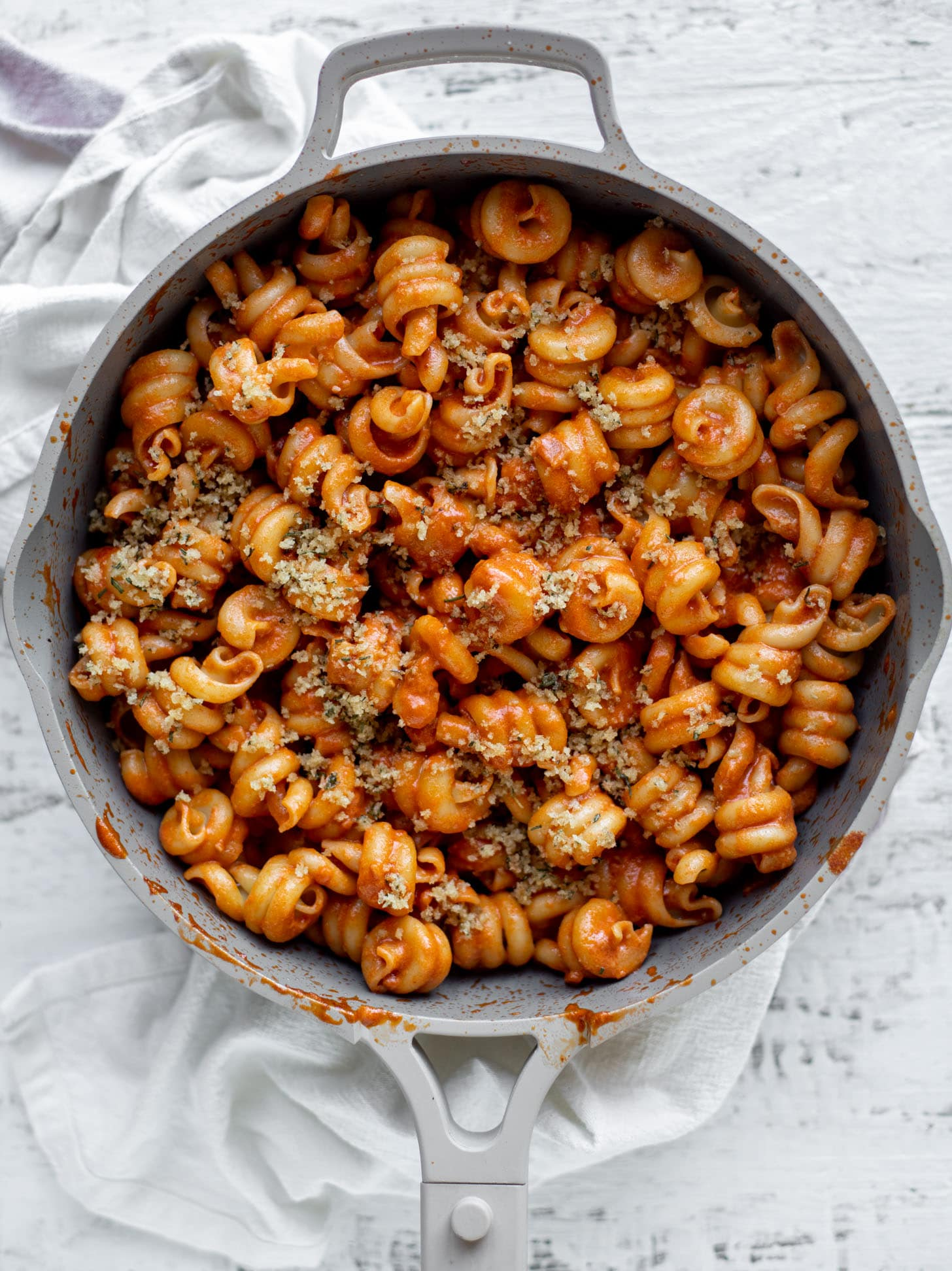 creamy vodka sauce pasta with rosemary toasted breadcrumbs