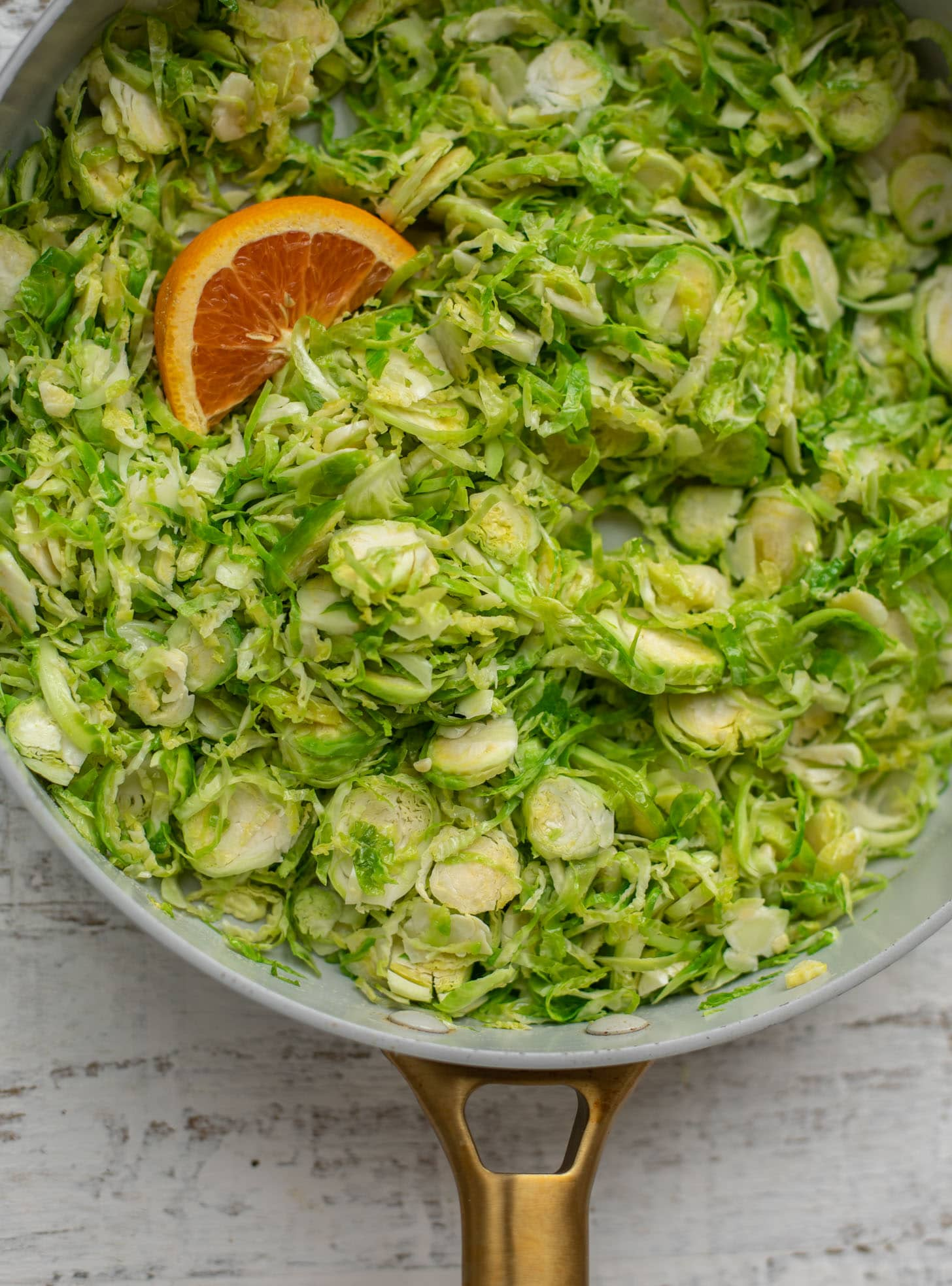 shredded brussels sprouts with orange