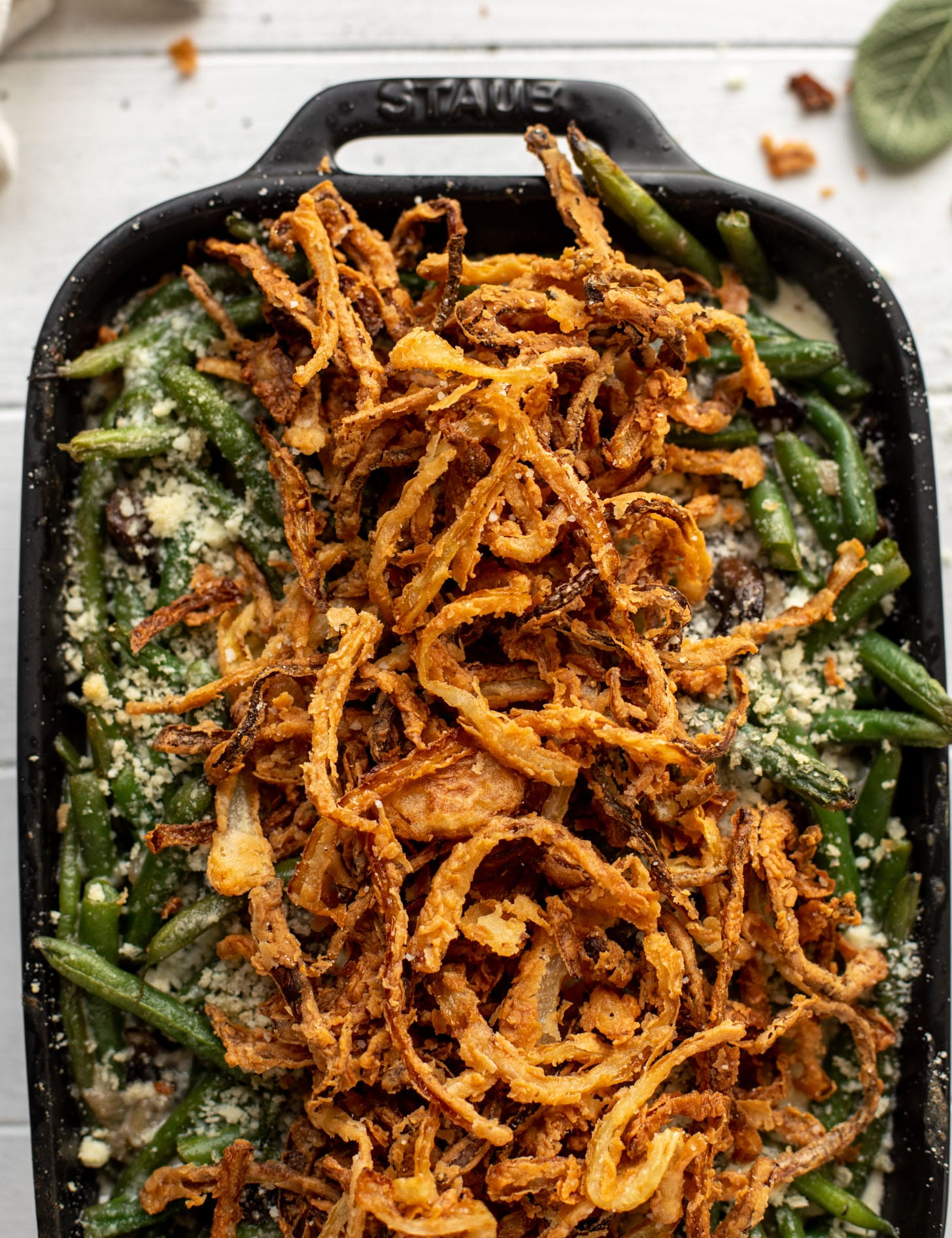 green bean casserole with crispy french fried onions
