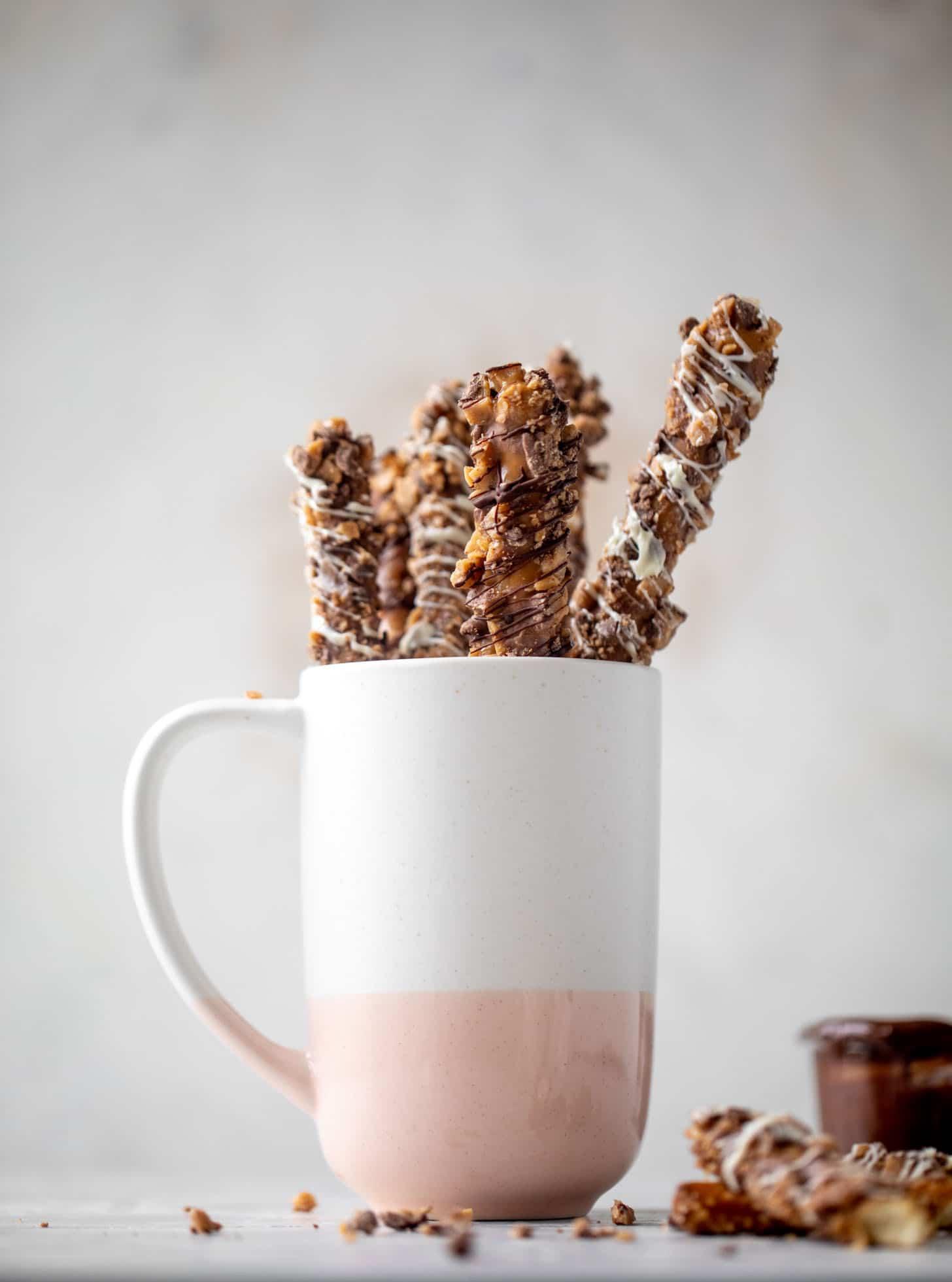 caramel pretzels in a mug
