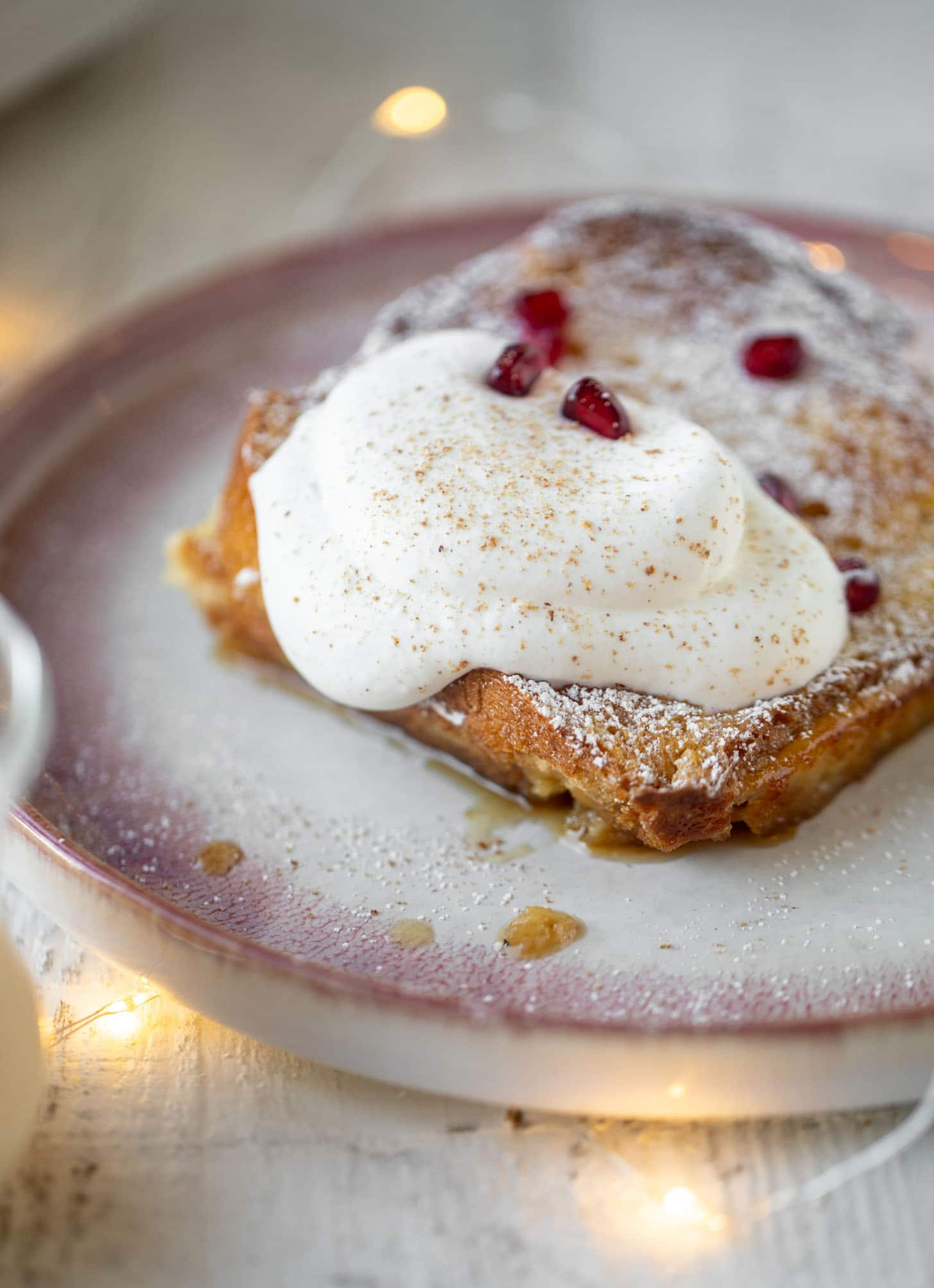 Eggnog creme brulee French toast with bourbon whipped cream